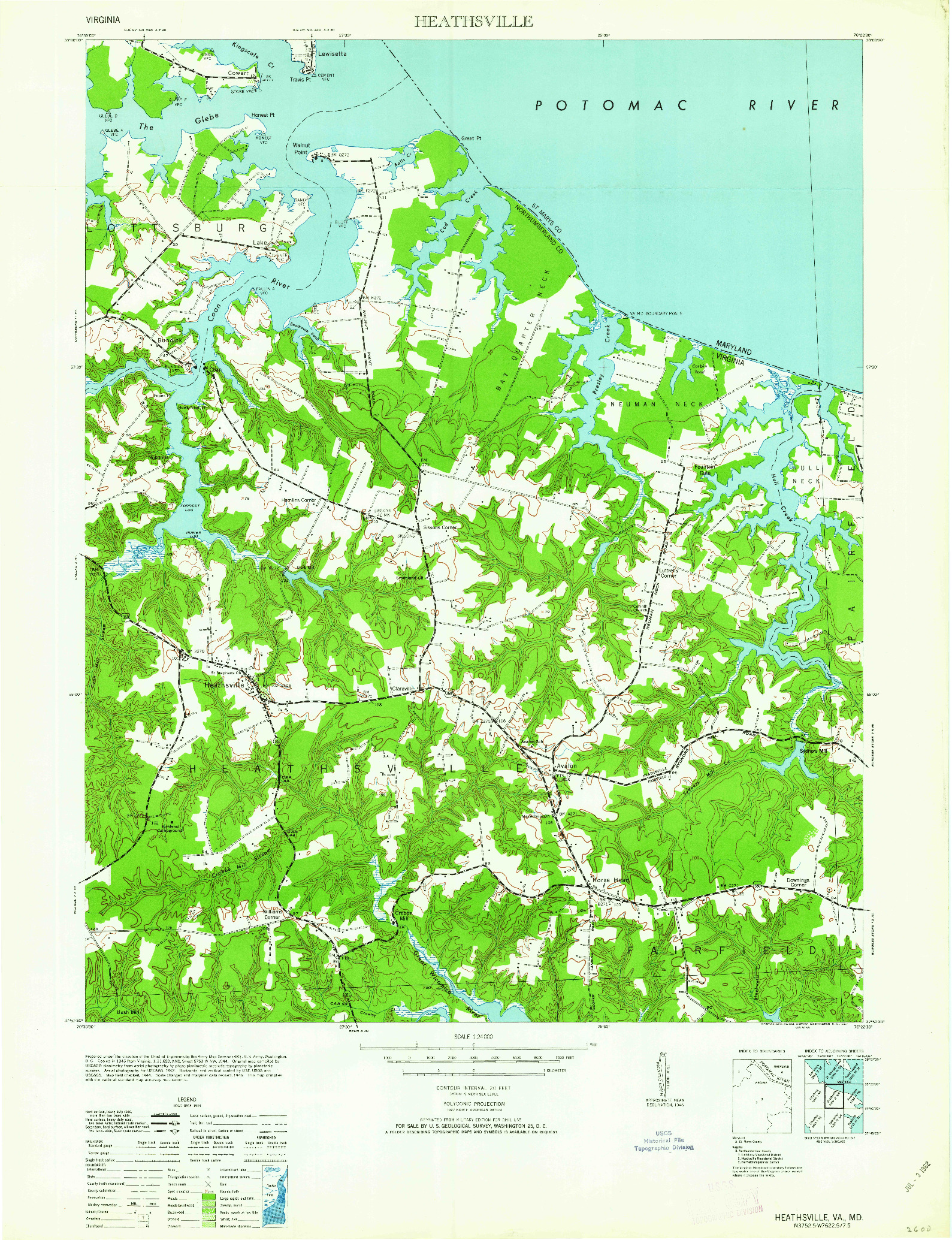 USGS 1:24000-SCALE QUADRANGLE FOR HEATHSVILLE, VA 1962