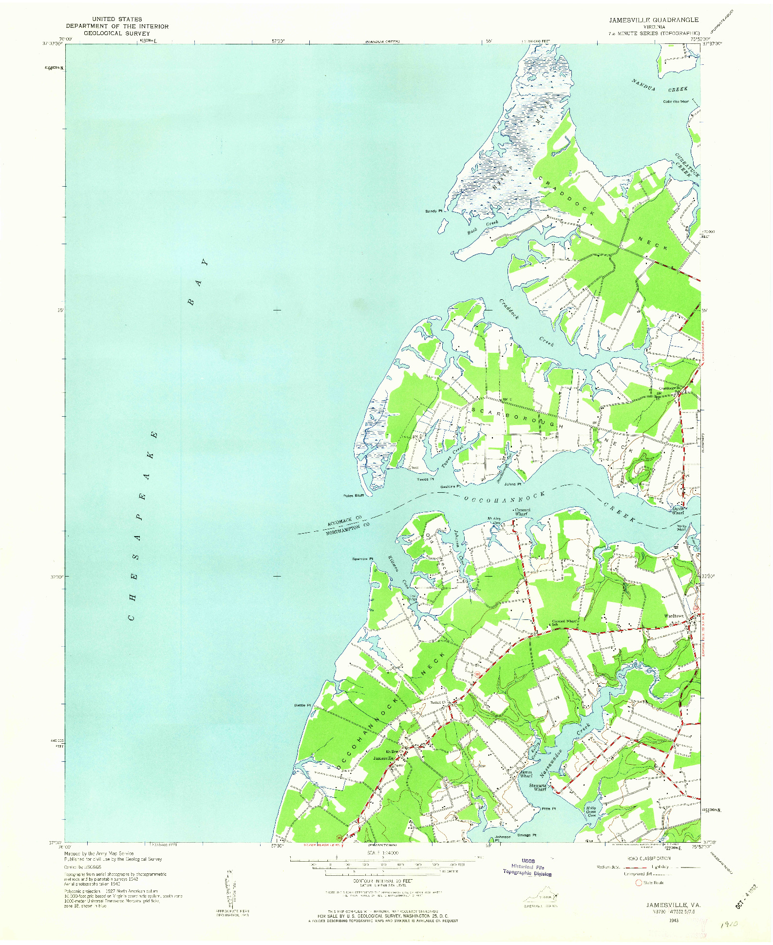 USGS 1:24000-SCALE QUADRANGLE FOR JAMESVILLE, VA 1943