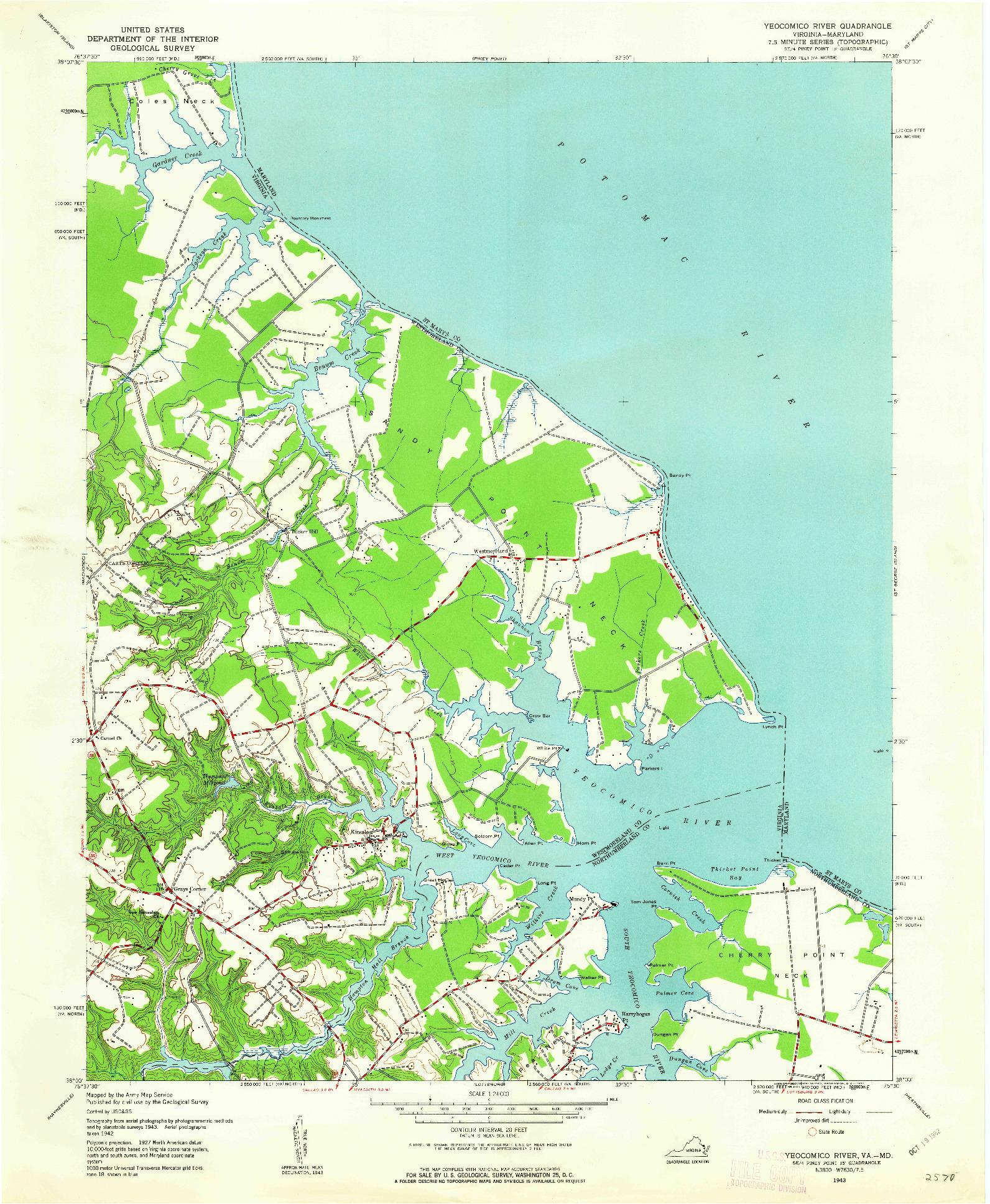 USGS 1:24000-SCALE QUADRANGLE FOR YEOCOMICO RIVER, VA 1943