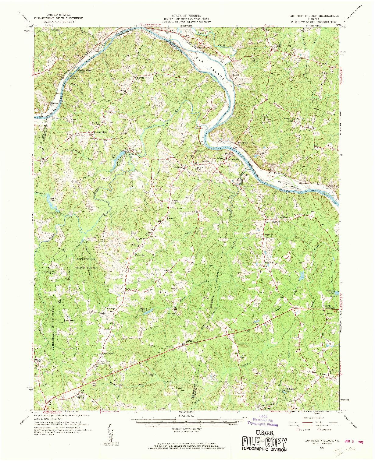 USGS 1:62500-SCALE QUADRANGLE FOR LAKESIDE VILLAGE, VA 1960