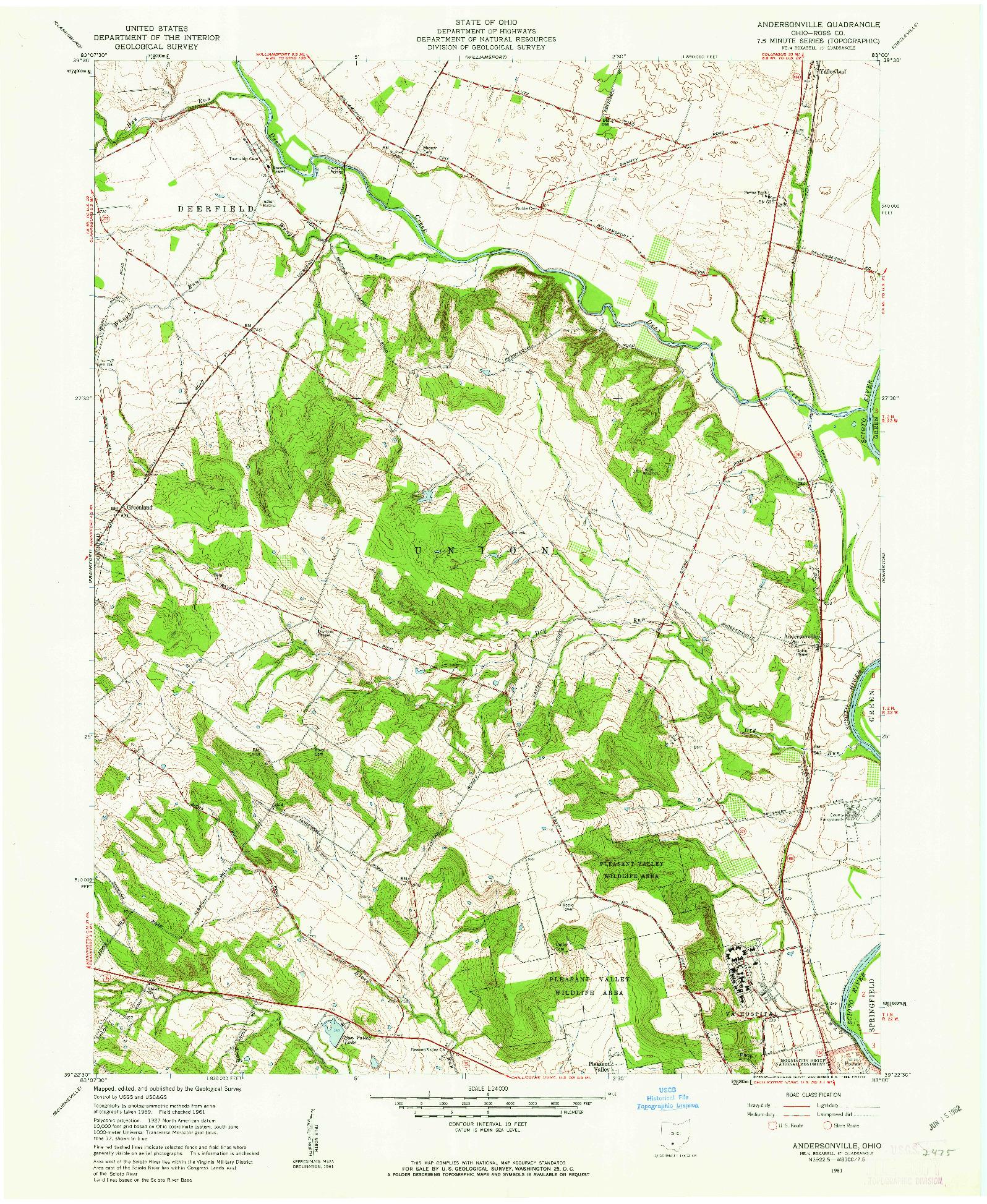 USGS 1:24000-SCALE QUADRANGLE FOR ANDERSONVILLE, OH 1961