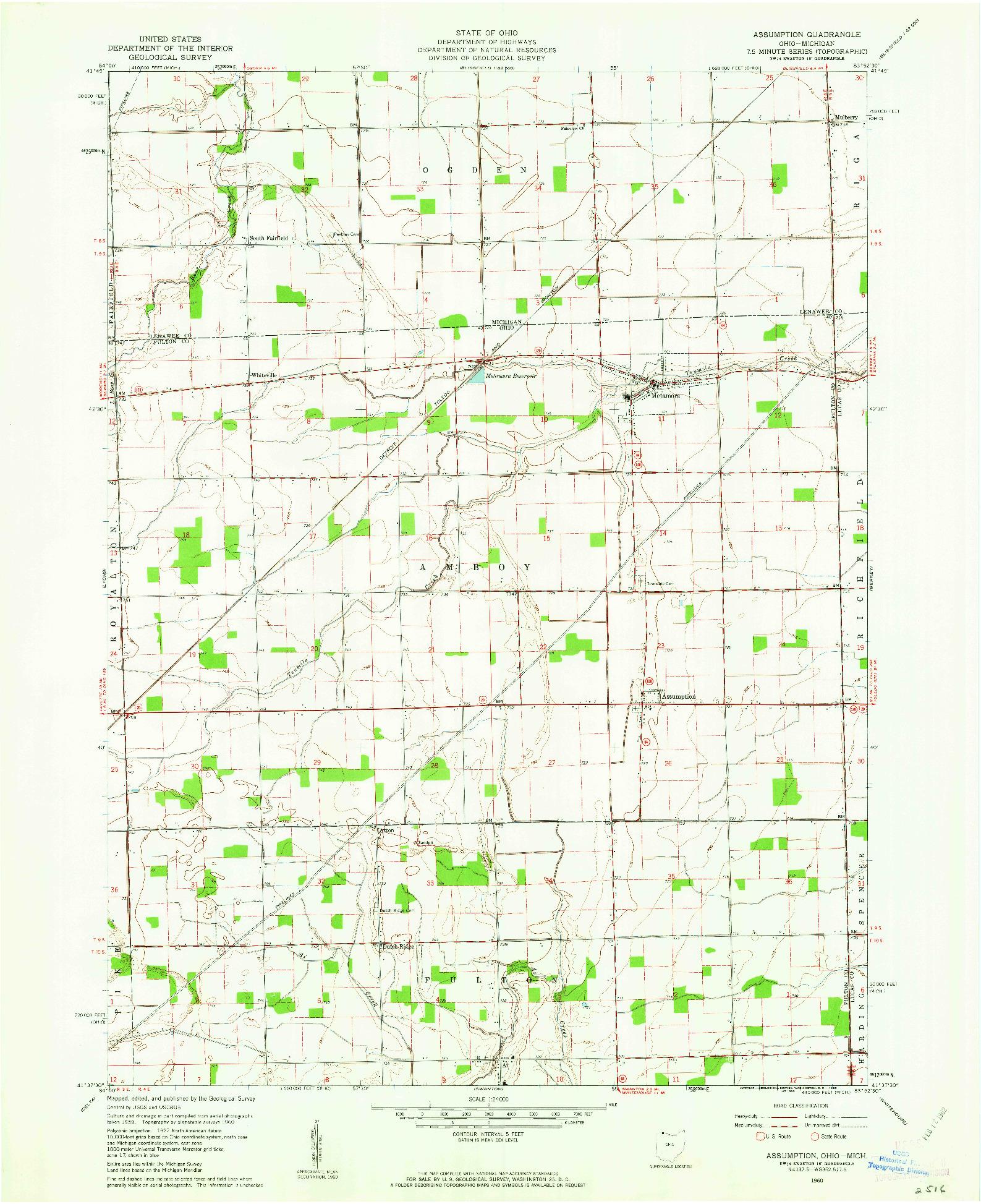 USGS 1:24000-SCALE QUADRANGLE FOR ASSUMPTION, OH 1960