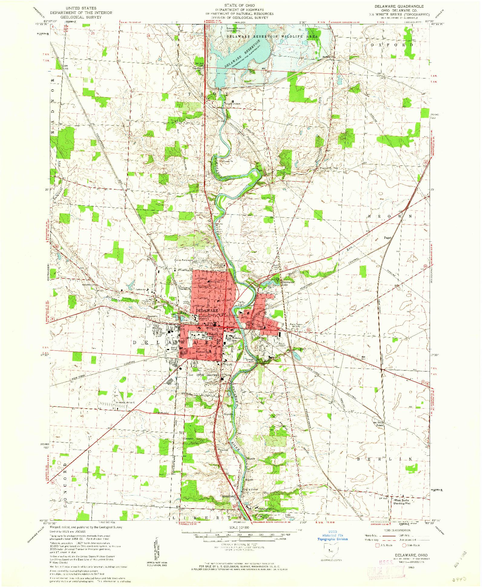 USGS 1:24000-SCALE QUADRANGLE FOR DELAWARE, OH 1960