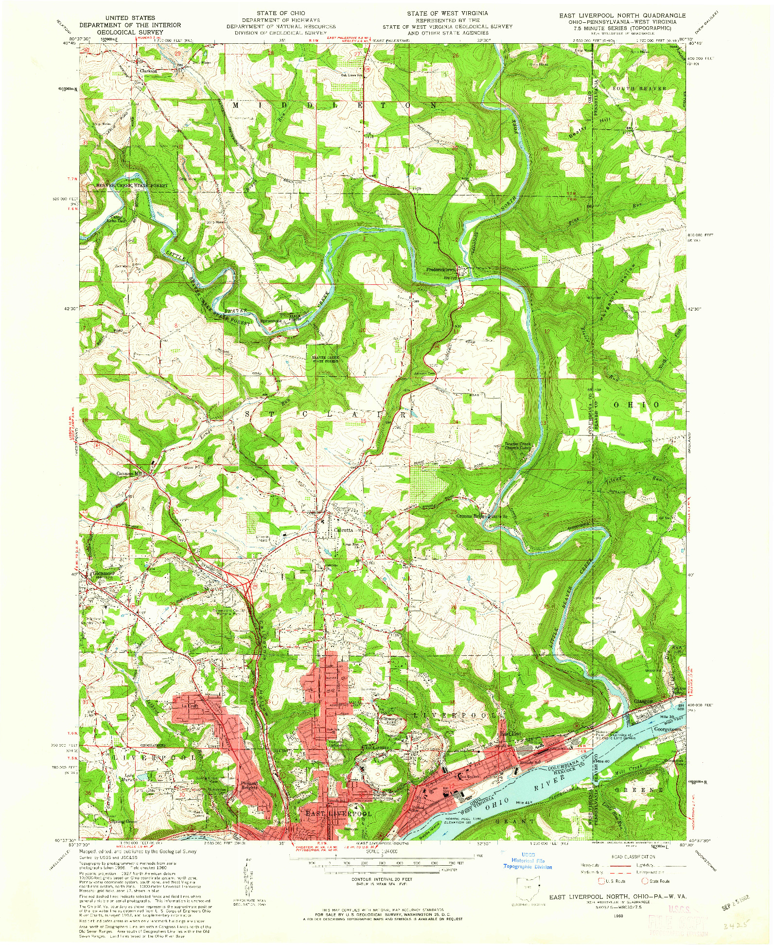 USGS 1:24000-SCALE QUADRANGLE FOR EAST LIVERPOOL NORTH, OH 1960