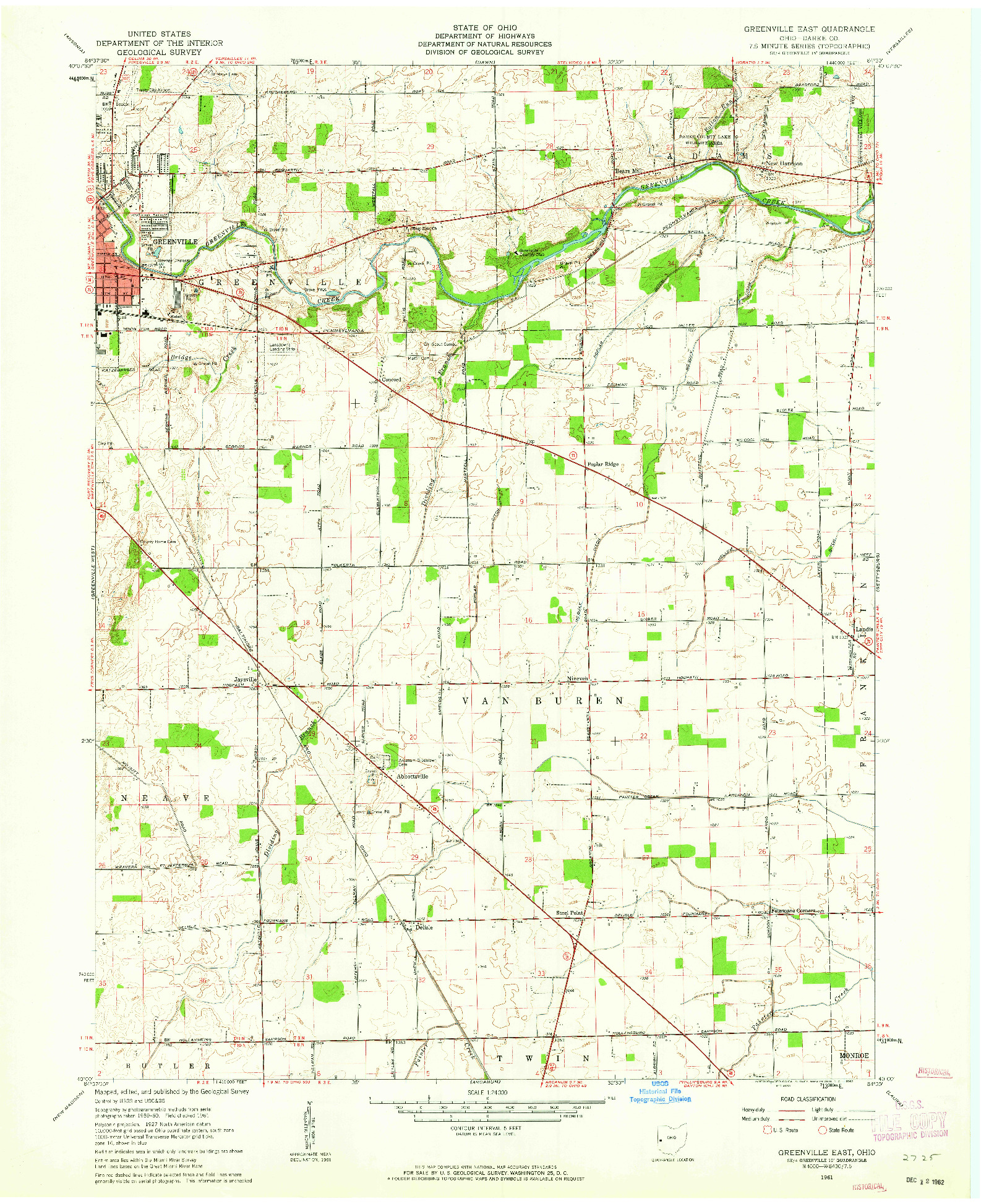 USGS 1:24000-SCALE QUADRANGLE FOR GREENVILLE EAST, OH 1961
