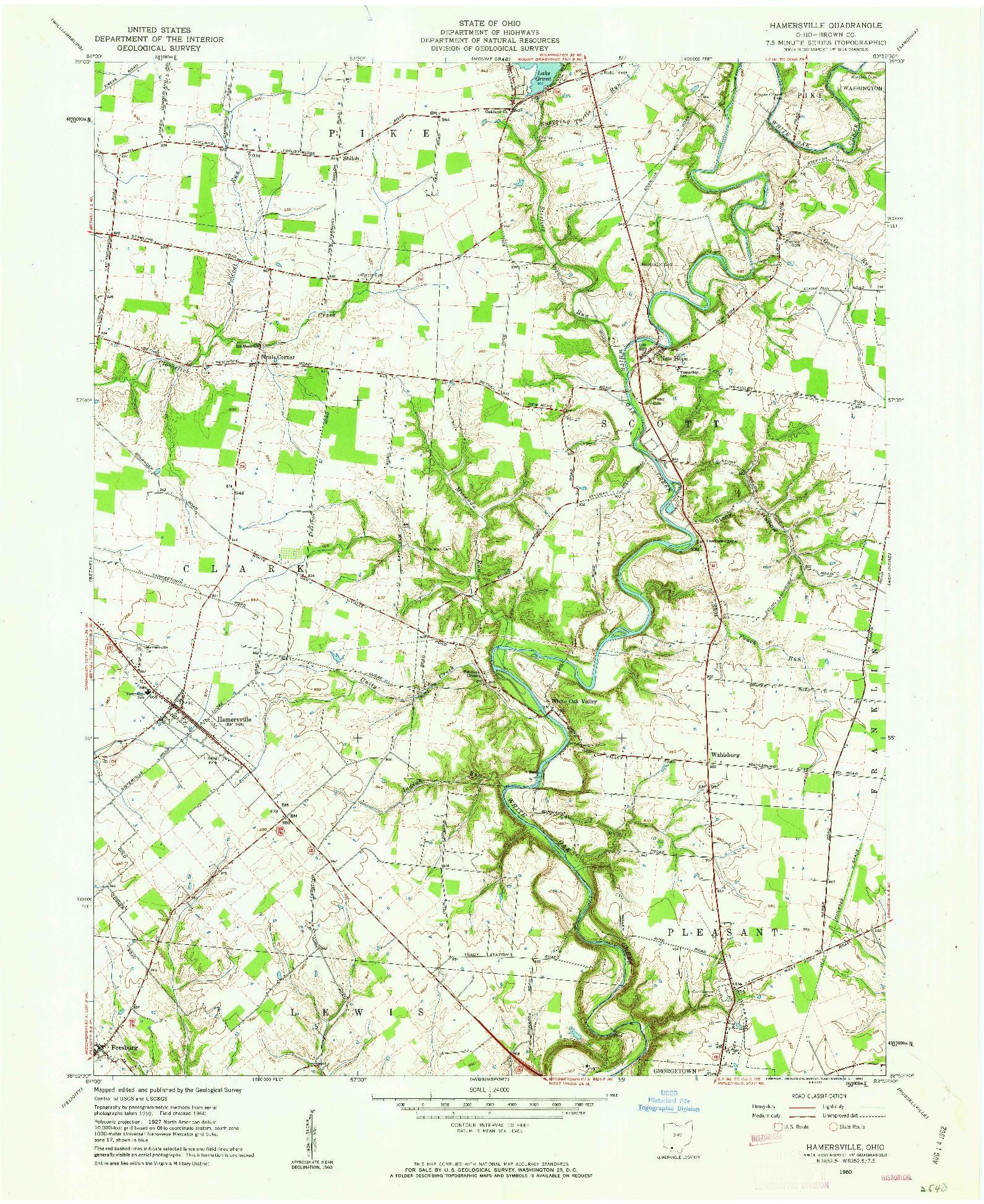 USGS 1:24000-SCALE QUADRANGLE FOR HAMERSVILLE, OH 1960