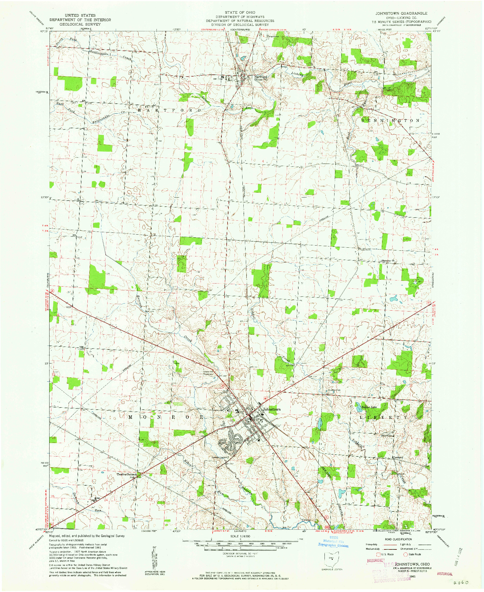 USGS 1:24000-SCALE QUADRANGLE FOR JOHNSTOWN, OH 1961