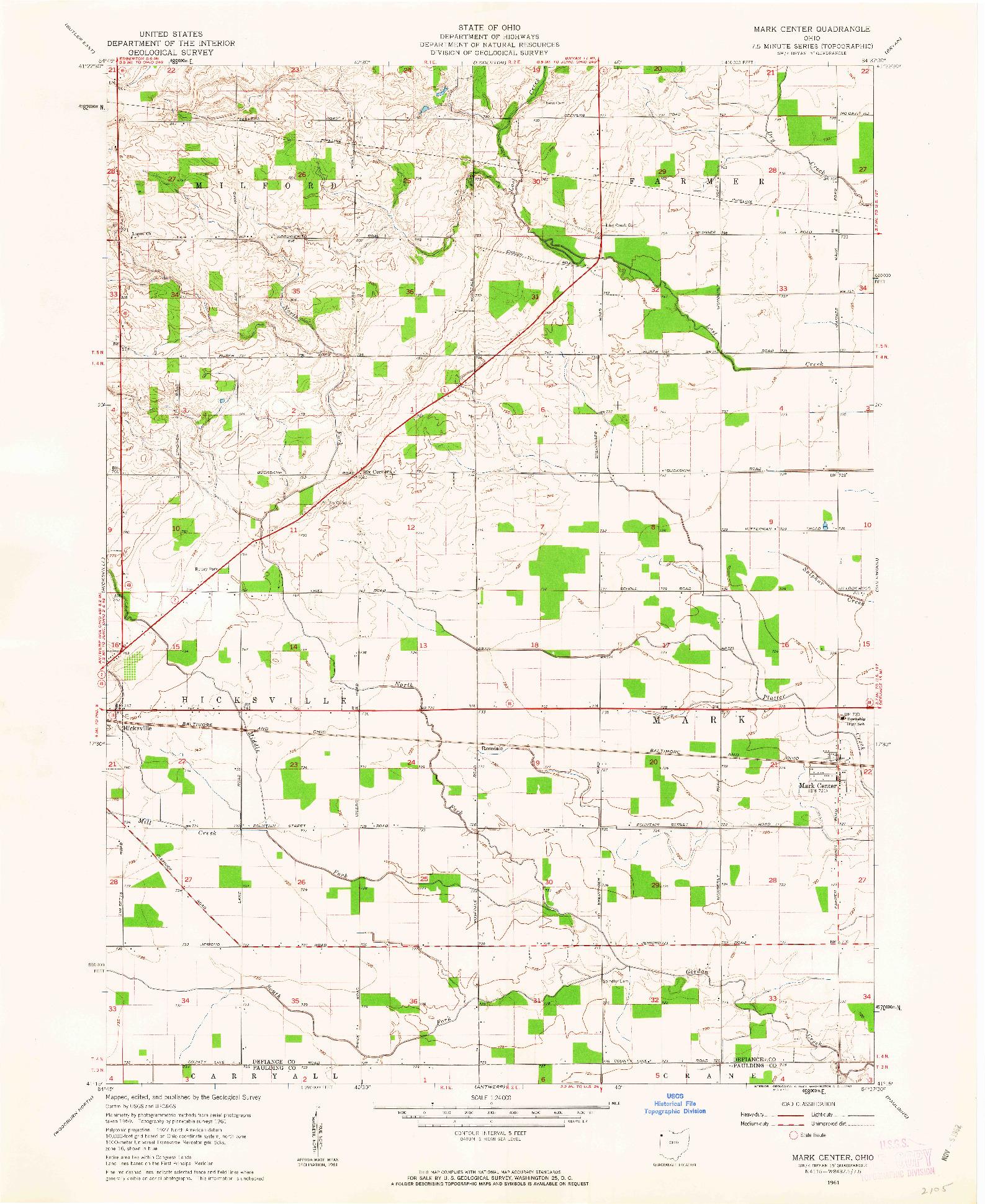 USGS 1:24000-SCALE QUADRANGLE FOR MARK CENTER, OH 1961