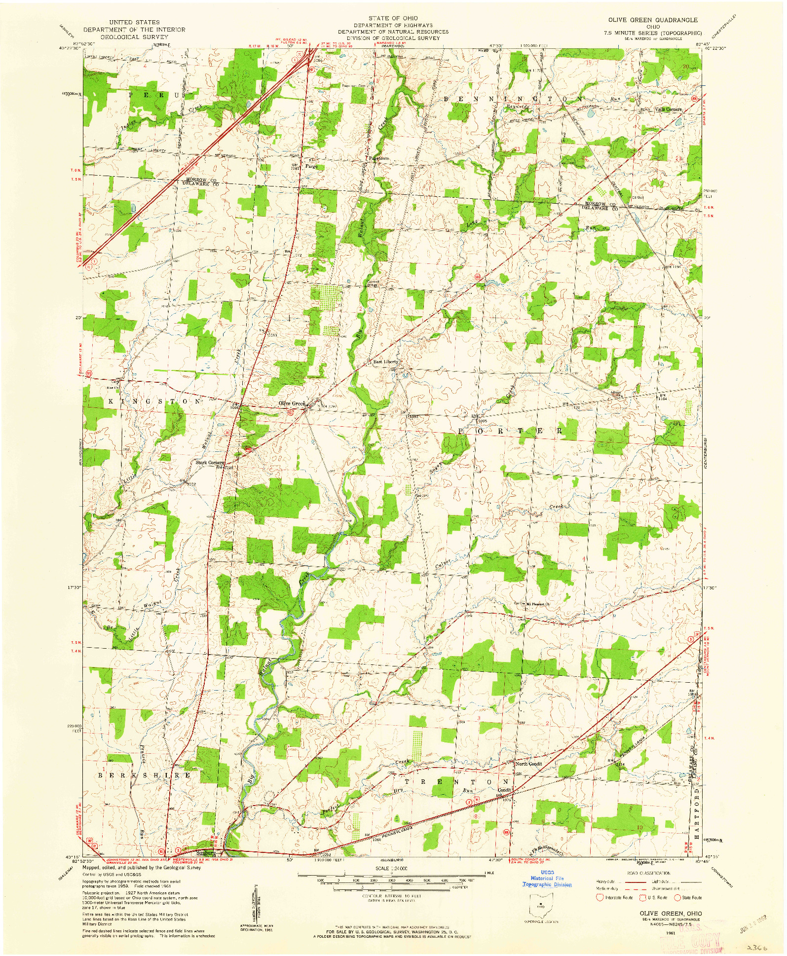 USGS 1:24000-SCALE QUADRANGLE FOR OLIVE GREEN, OH 1961