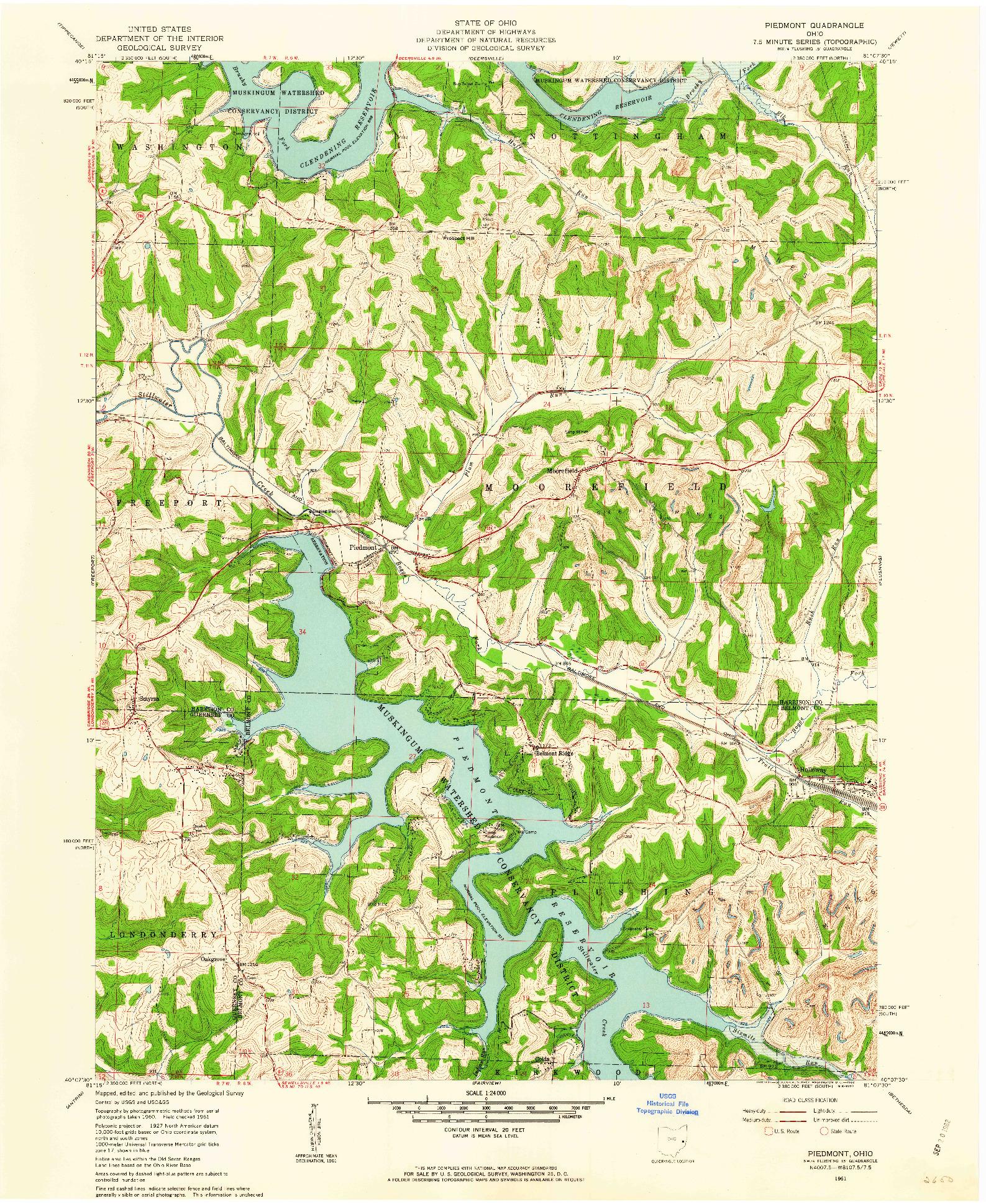 USGS 1:24000-SCALE QUADRANGLE FOR PIEDMONT, OH 1961