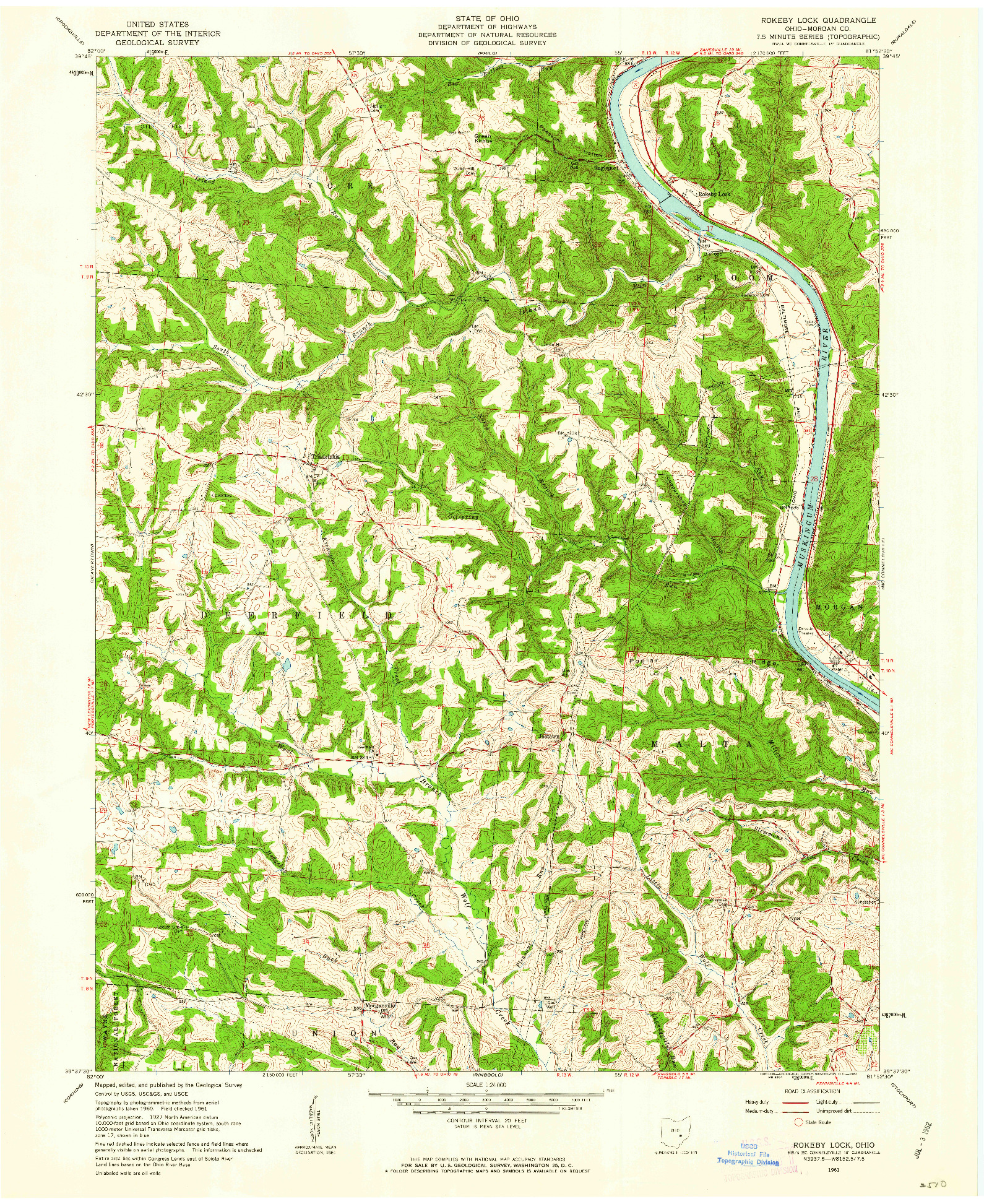 USGS 1:24000-SCALE QUADRANGLE FOR ROKEBY LOCK, OH 1961