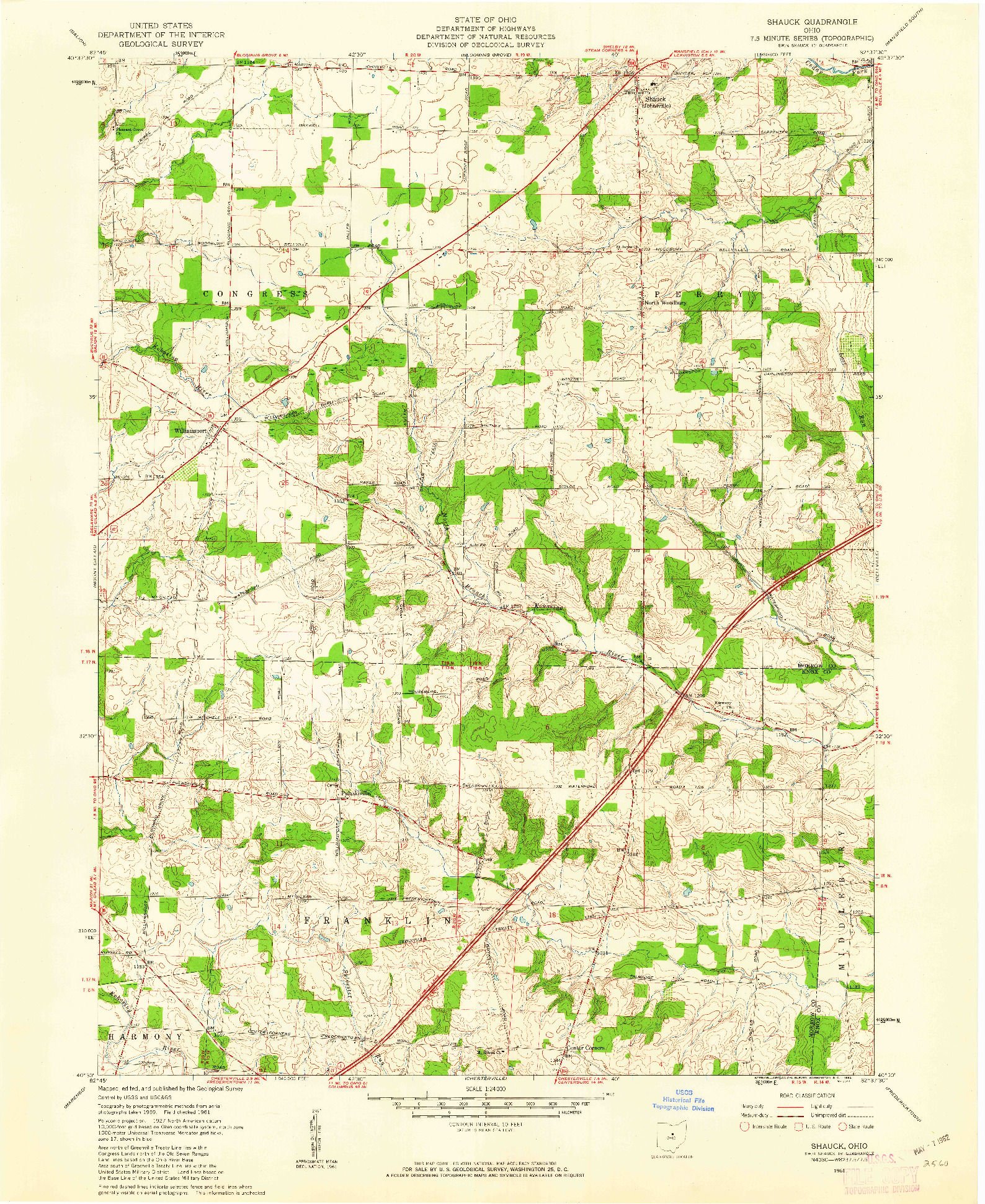 USGS 1:24000-SCALE QUADRANGLE FOR SHAUCK, OH 1961