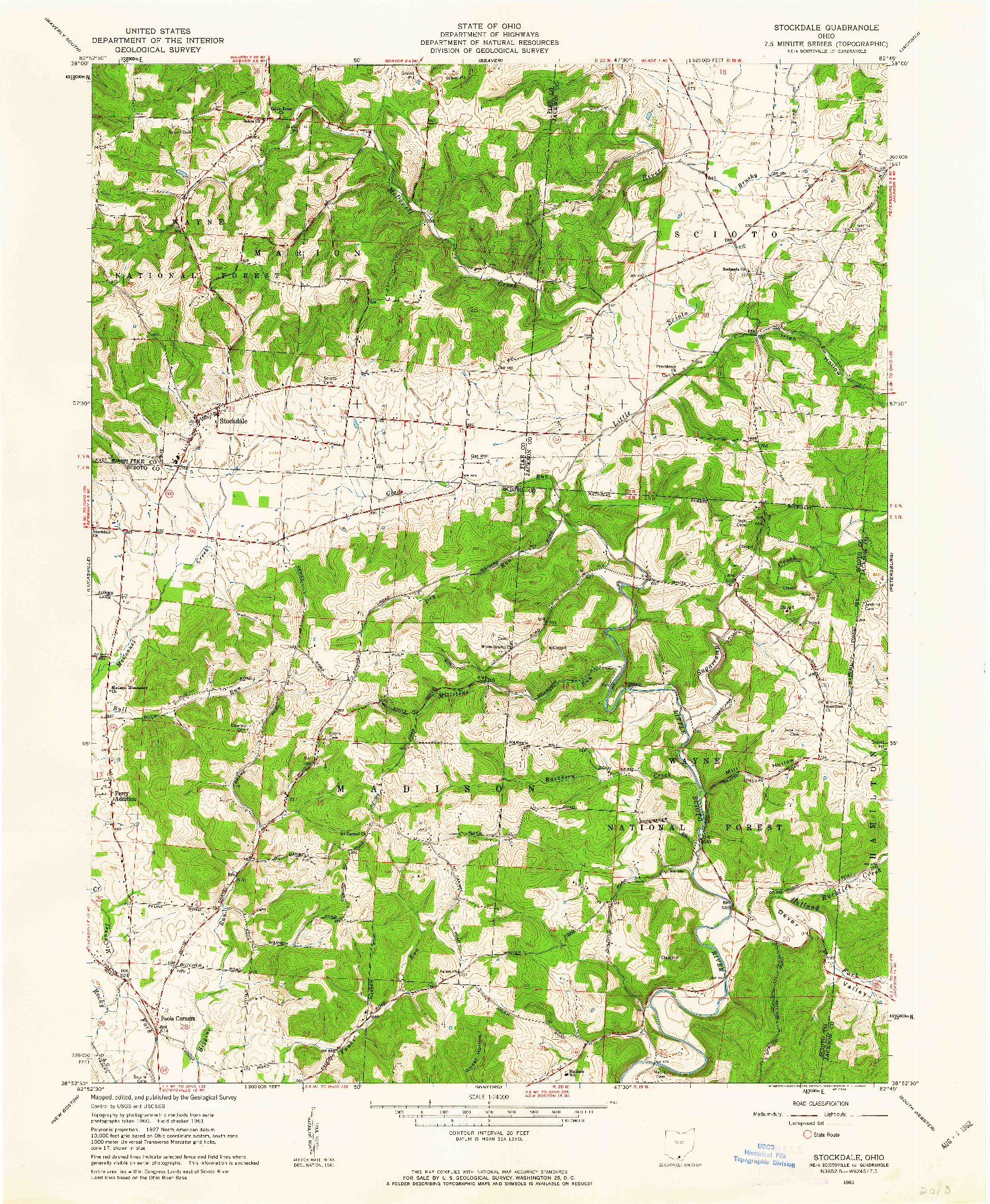 USGS 1:24000-SCALE QUADRANGLE FOR STOCKDALE, OH 1961