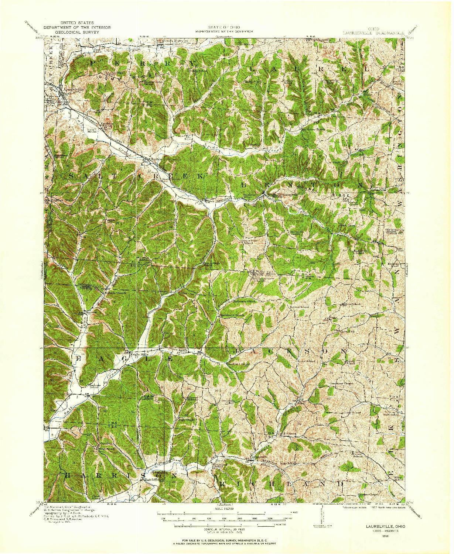 USGS 1:62500-SCALE QUADRANGLE FOR LAURELVILLE, OH 1910