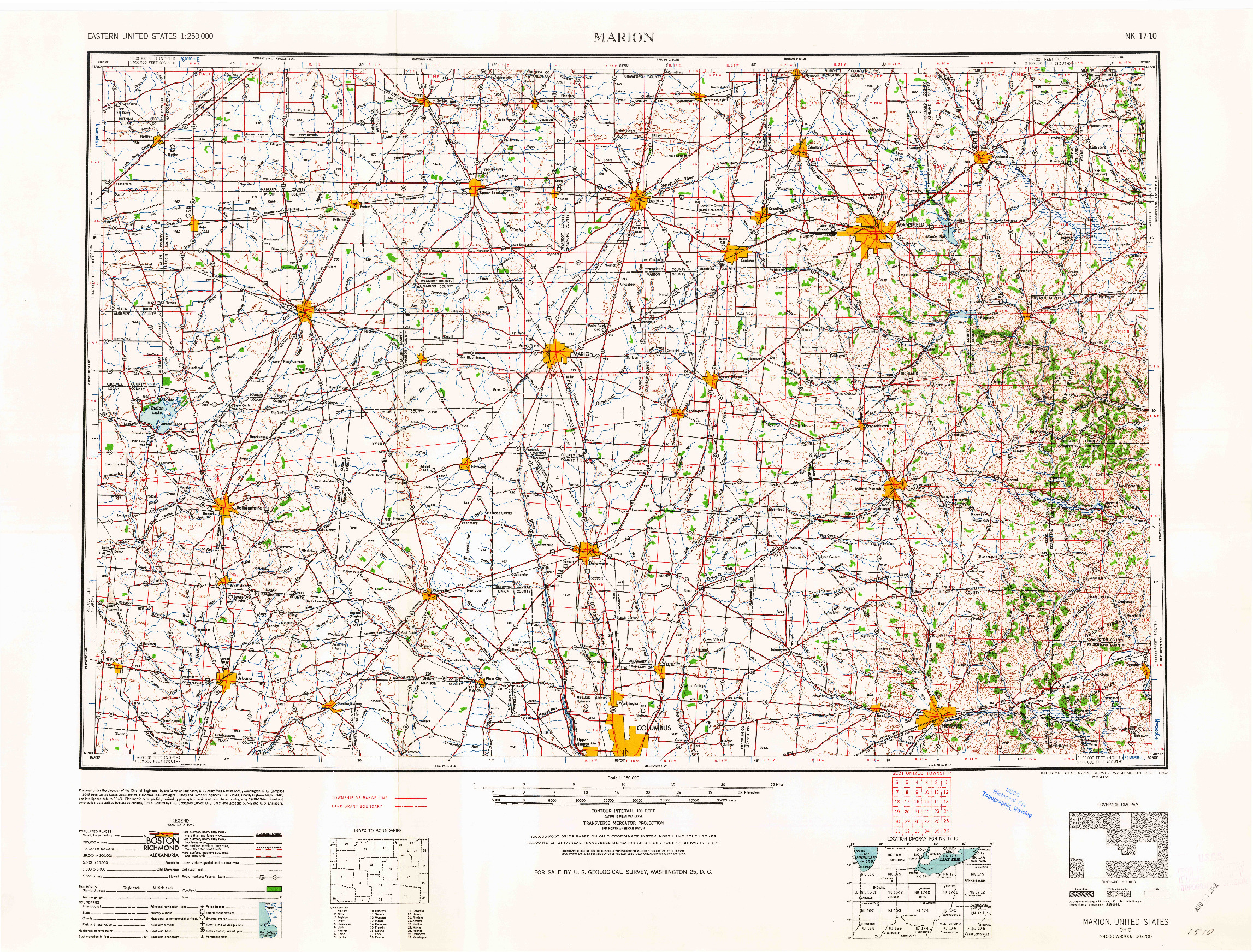 USGS 1:250000-SCALE QUADRANGLE FOR MARION, OH 1962