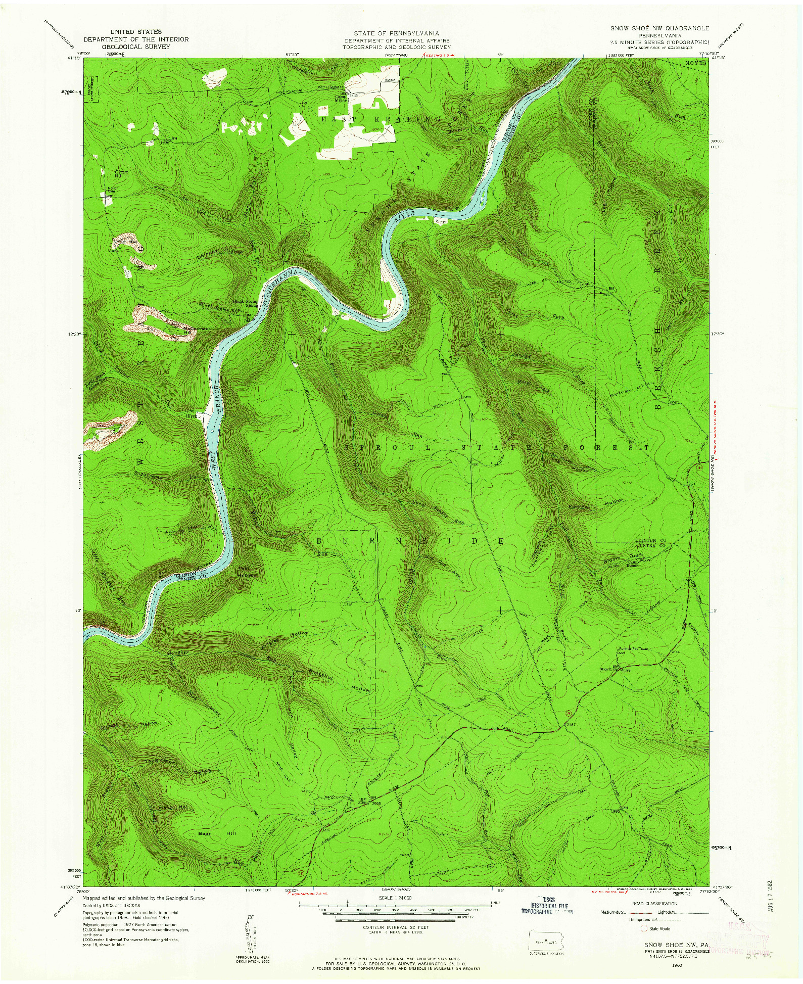 USGS 1:24000-SCALE QUADRANGLE FOR SNOW SHOE NW, PA 1960