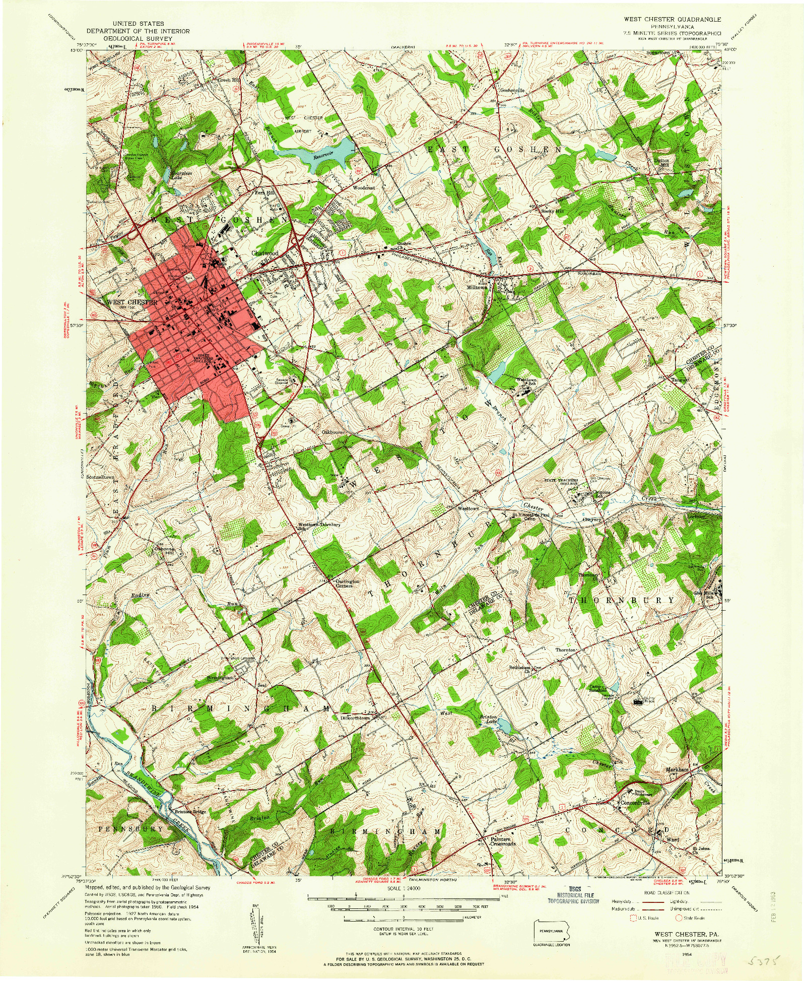 USGS 1:24000-SCALE QUADRANGLE FOR WEST CHESTER, PA 1954