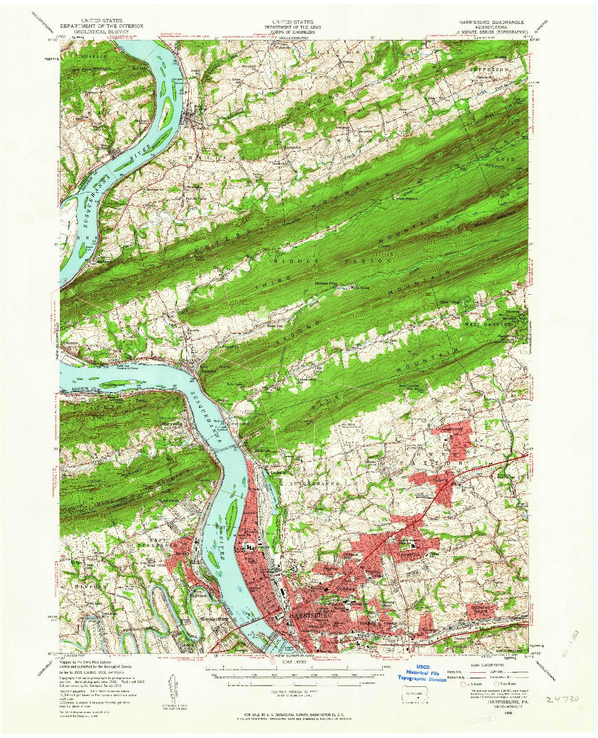 USGS 1:62500-SCALE QUADRANGLE FOR HARRISBURG, PA 1956