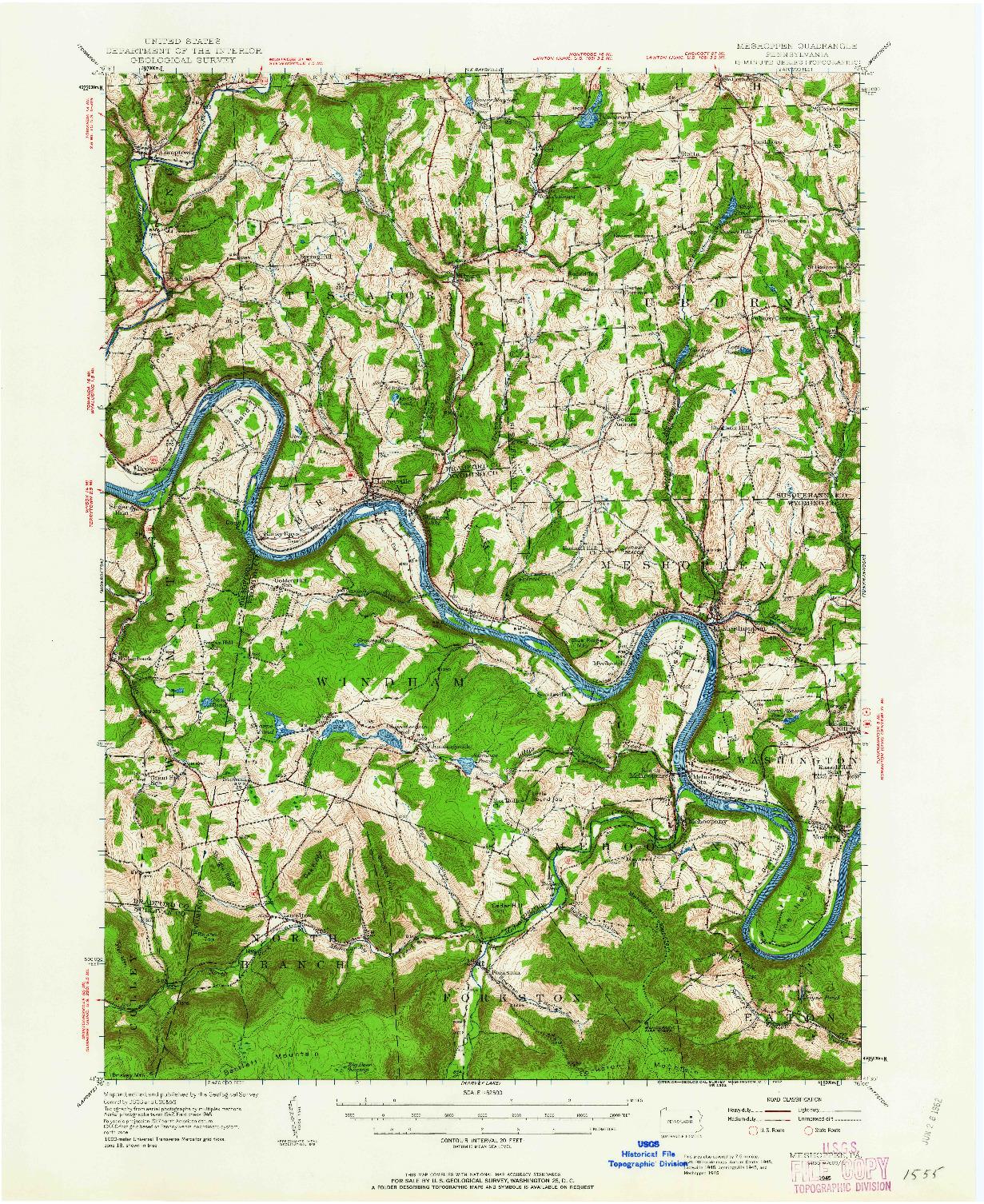 USGS 1:62500-SCALE QUADRANGLE FOR MESHOPPEN, PA 1945