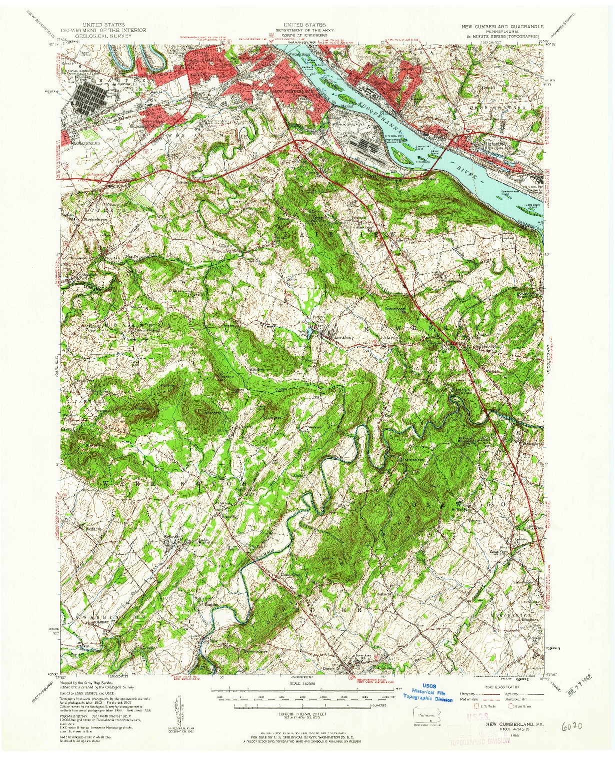 USGS 1:62500-SCALE QUADRANGLE FOR NEW CUMBERLAND, PA 1956
