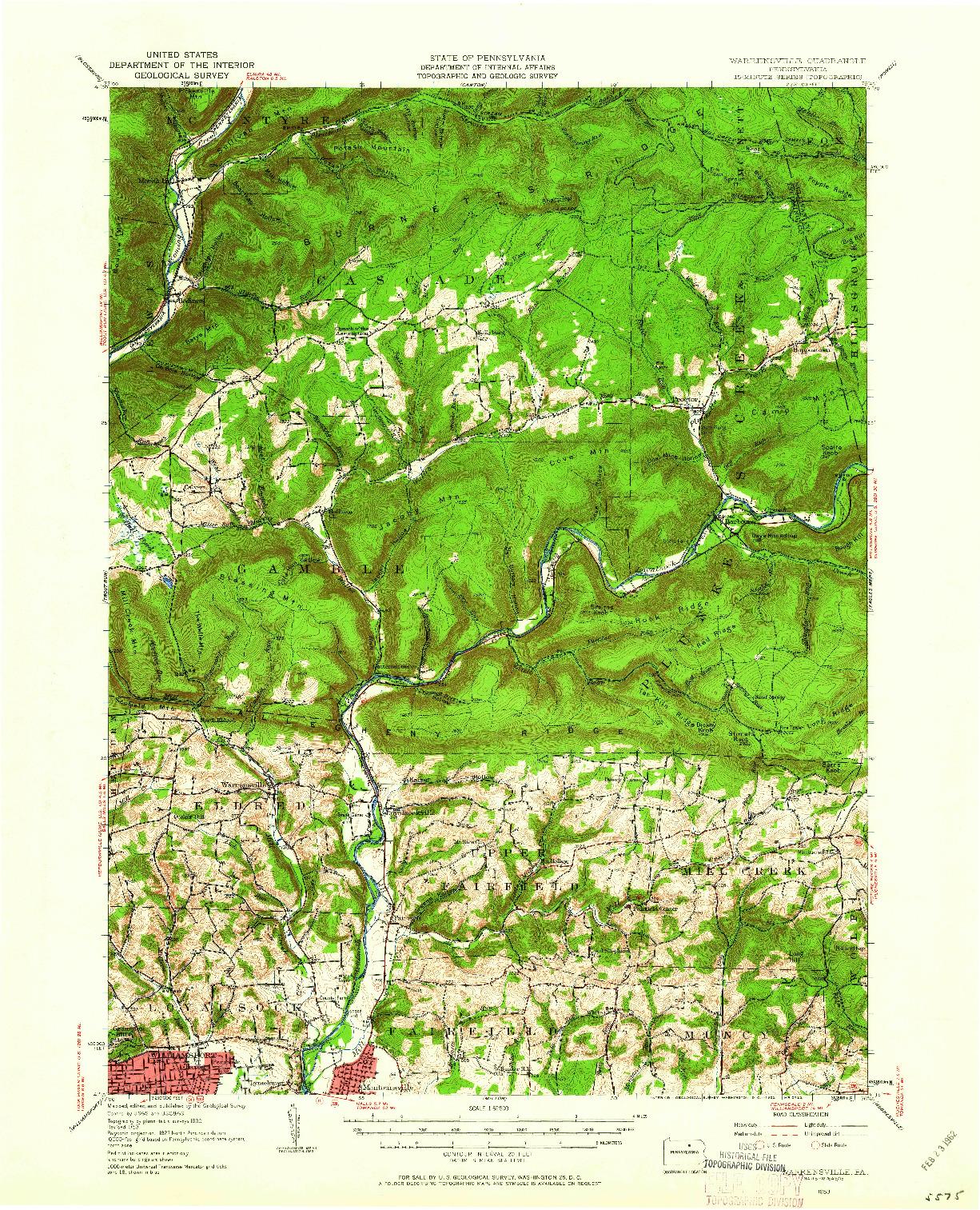 USGS 1:62500-SCALE QUADRANGLE FOR WARRENSVILLE, PA 1953