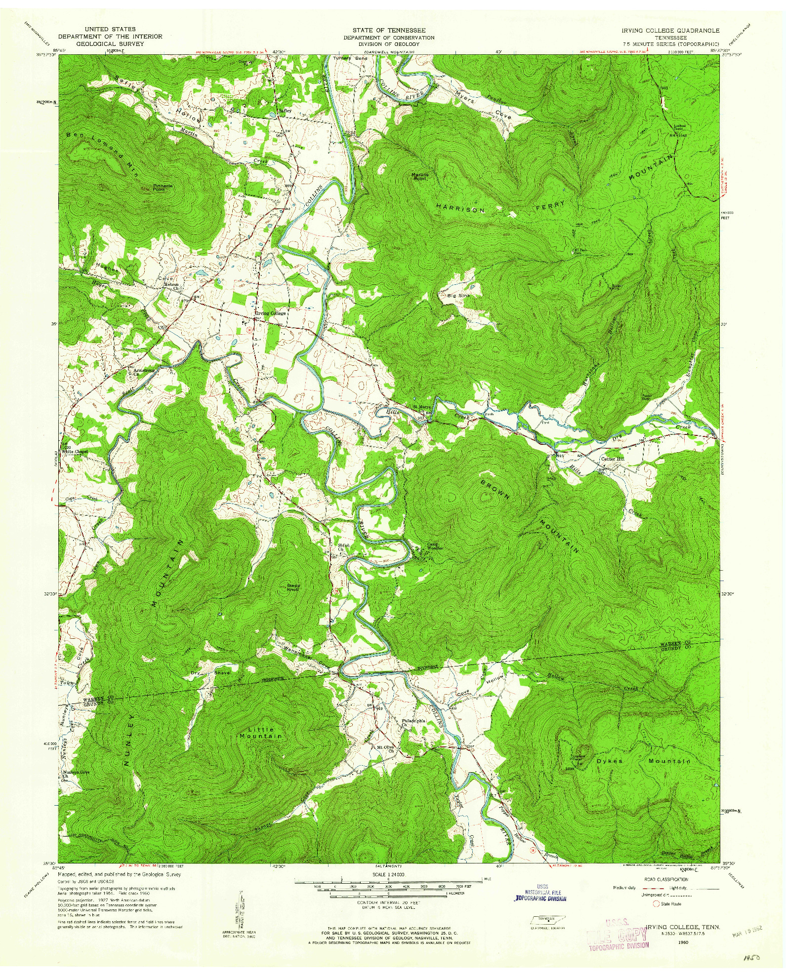USGS 1:24000-SCALE QUADRANGLE FOR IRVING COLLEGE, TN 1960