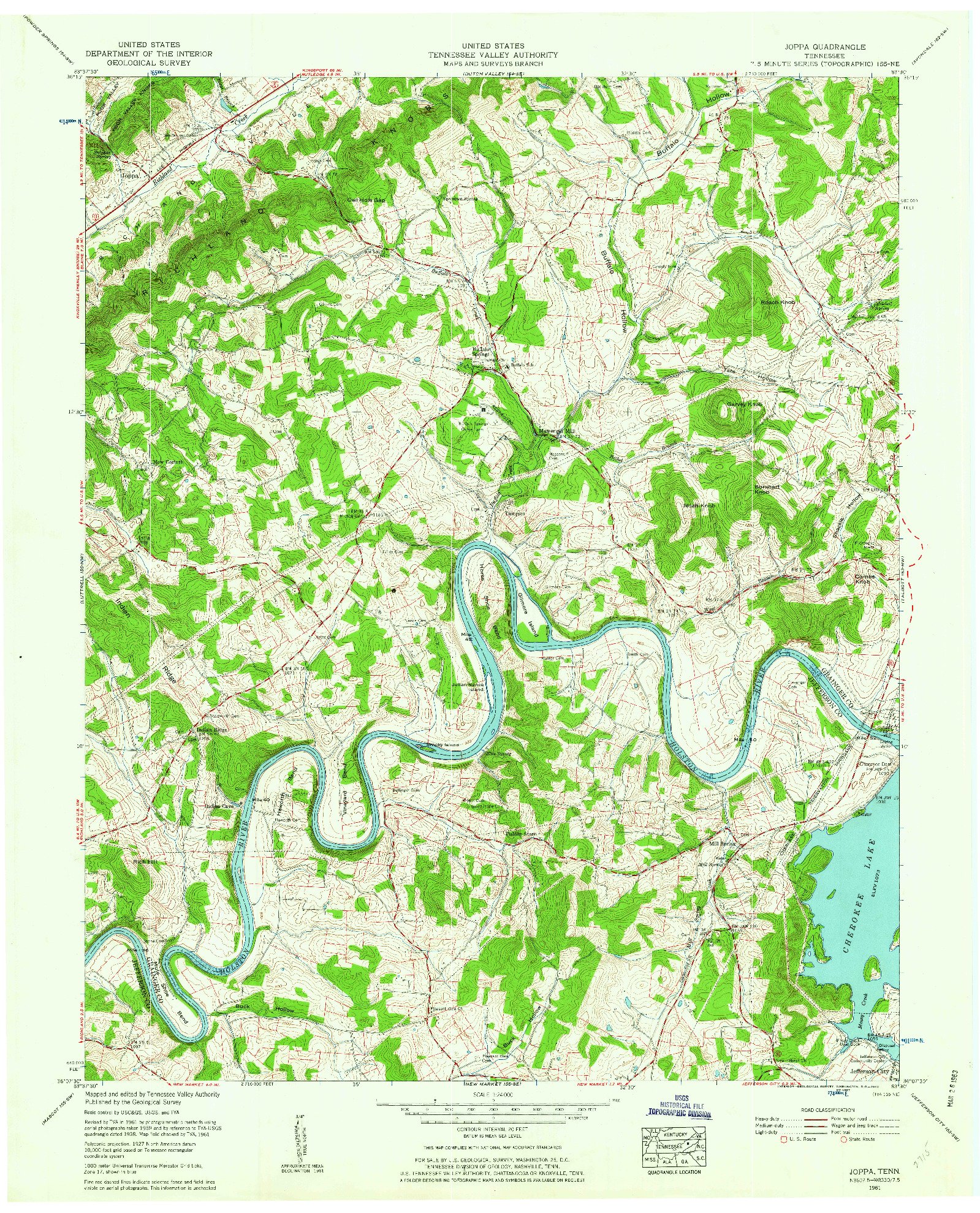 USGS 1:24000-SCALE QUADRANGLE FOR JOPPA, TN 1961