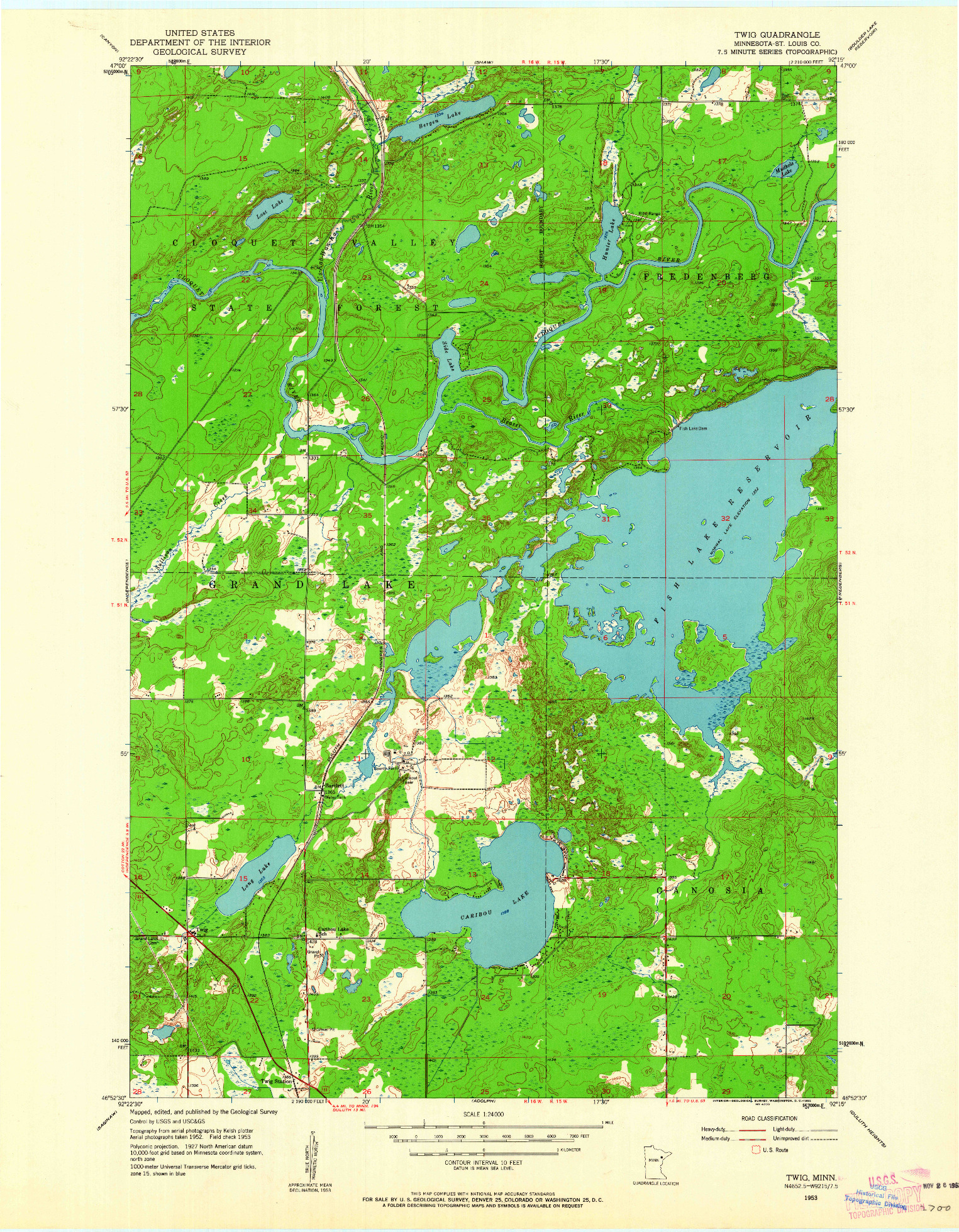 USGS 1:24000-SCALE QUADRANGLE FOR TWIG, MN 1953