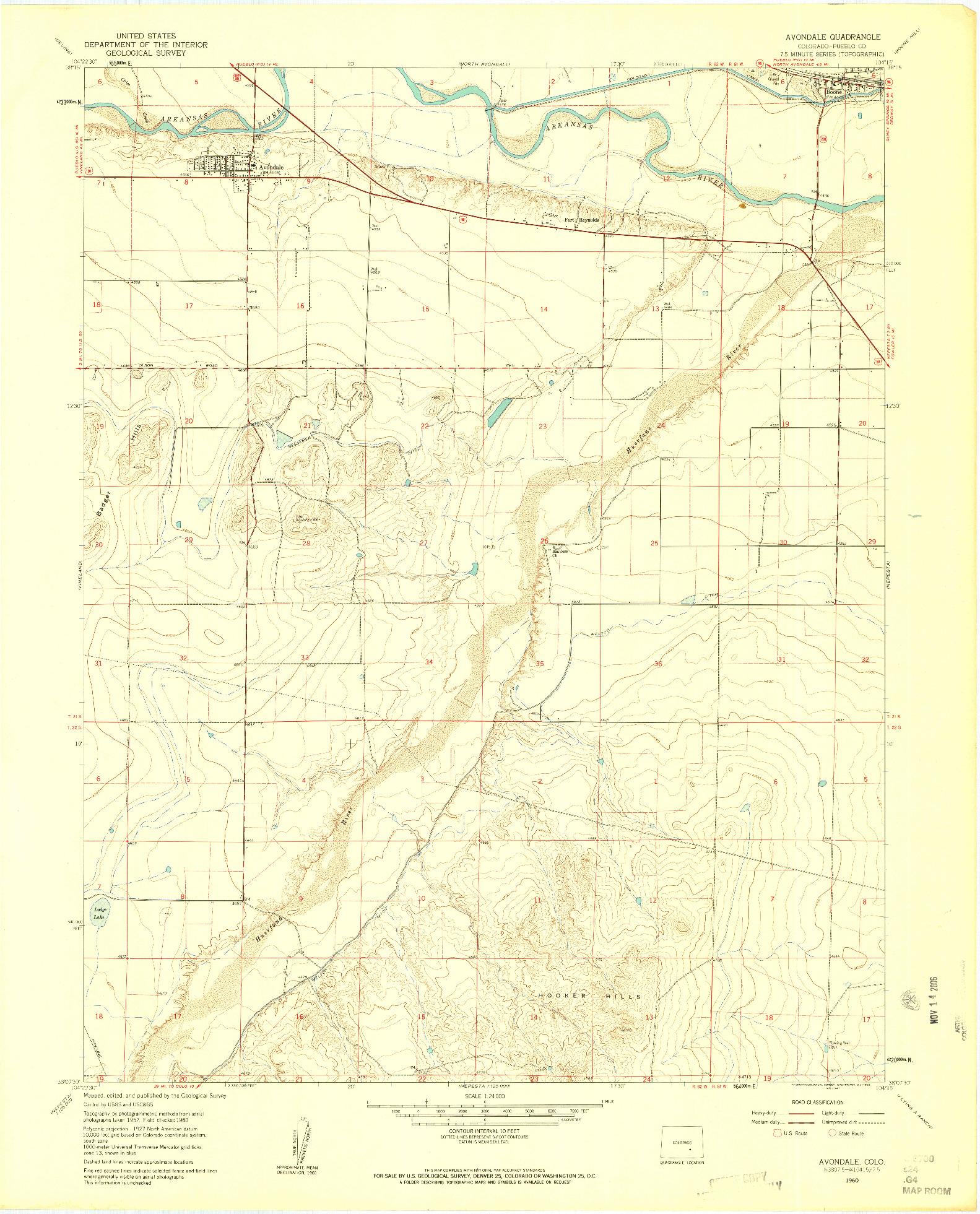 USGS 1:24000-SCALE QUADRANGLE FOR AVONDALE, CO 1960