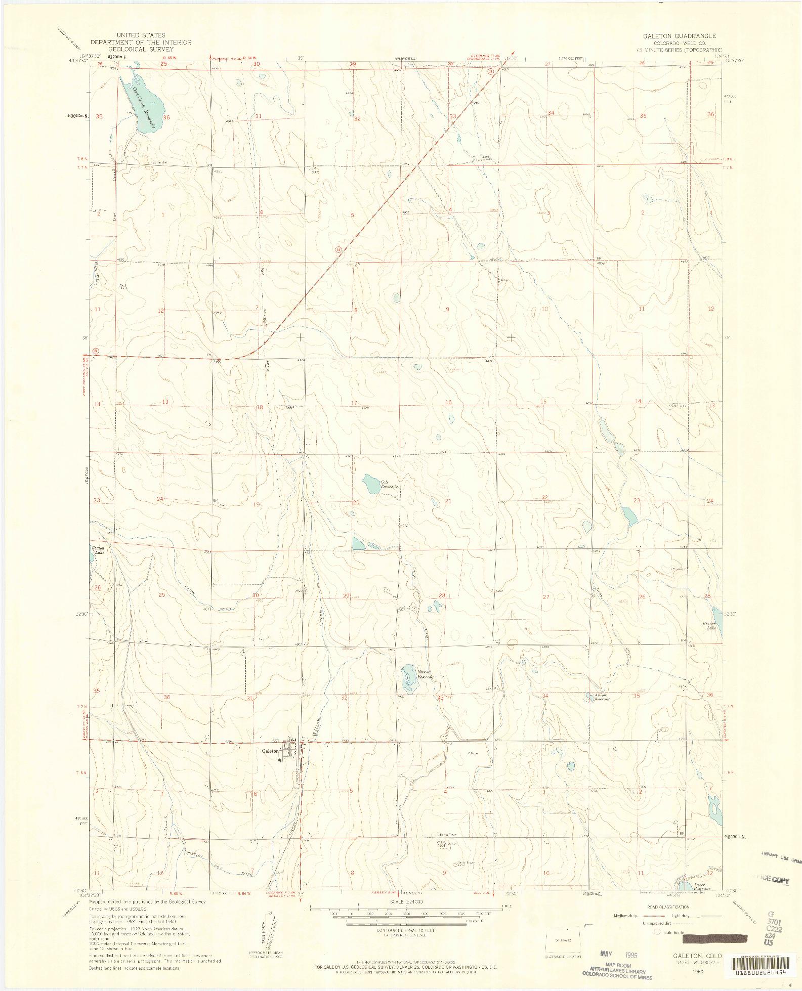 USGS 1:24000-SCALE QUADRANGLE FOR GALETON, CO 1960