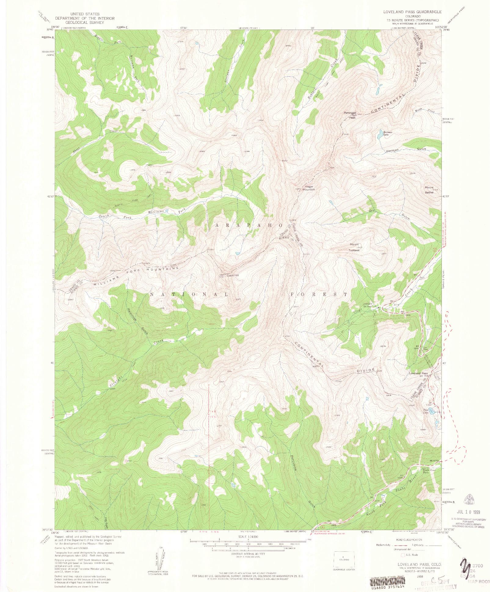USGS 1:24000-SCALE QUADRANGLE FOR LOVELAND PASS, CO 1958
