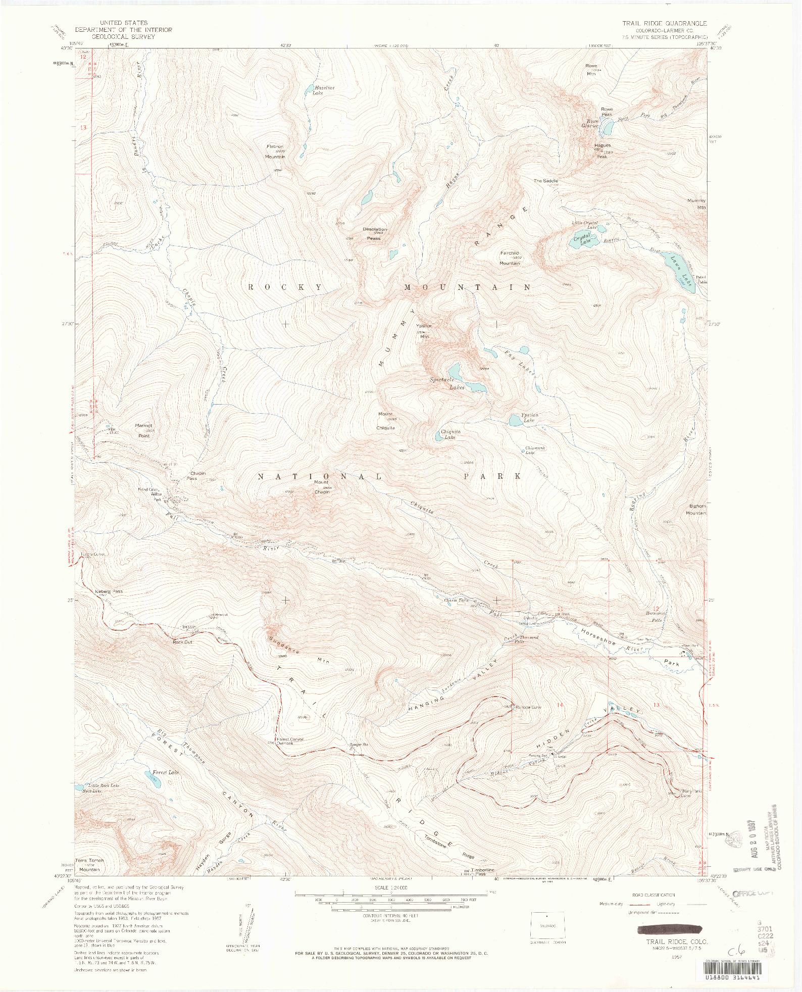 USGS 1:24000-SCALE QUADRANGLE FOR TRAIL RIDGE, CO 1957