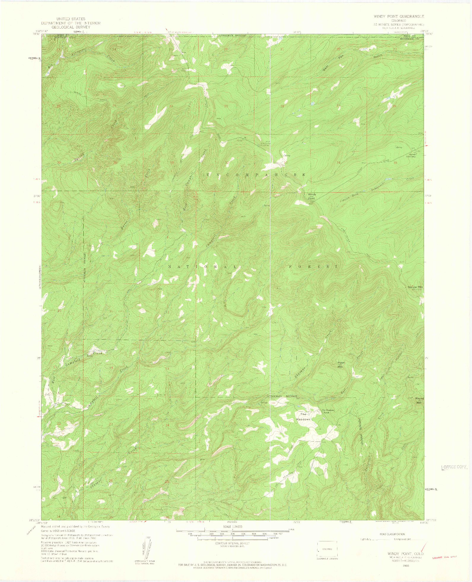 USGS 1:24000-SCALE QUADRANGLE FOR WINDY POINT, CO 1960
