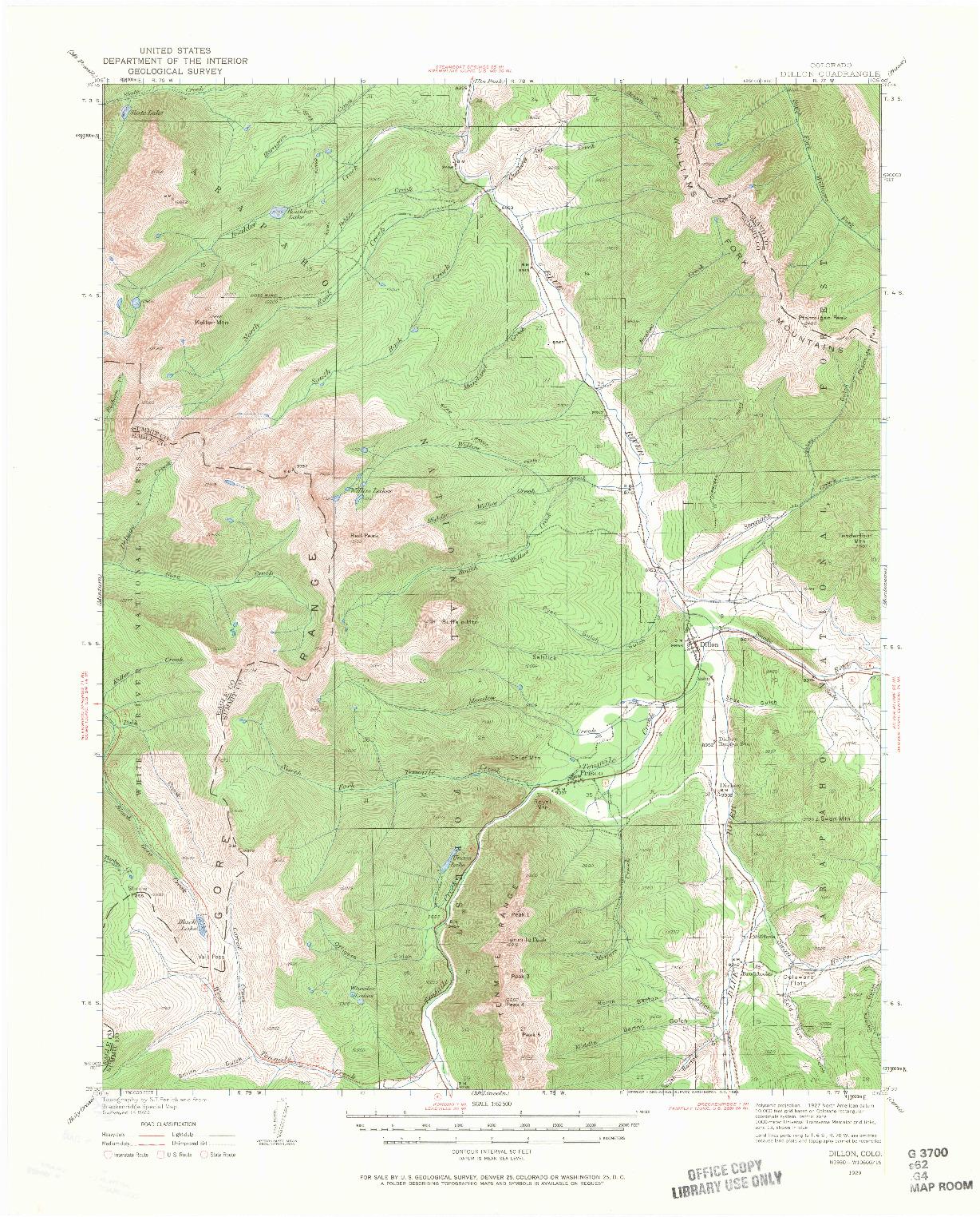 USGS 1:62500-SCALE QUADRANGLE FOR DILLON, CO 1929