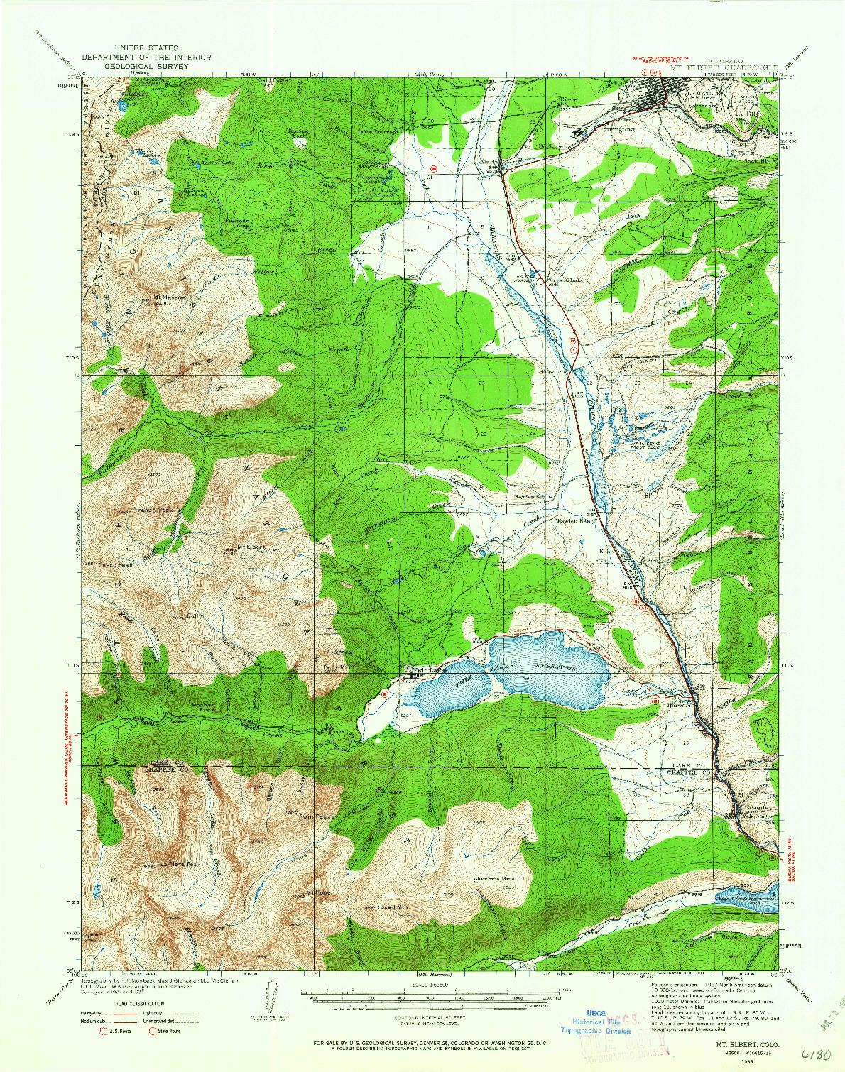 USGS 1:62500-SCALE QUADRANGLE FOR MT ELBERT, CO 1935