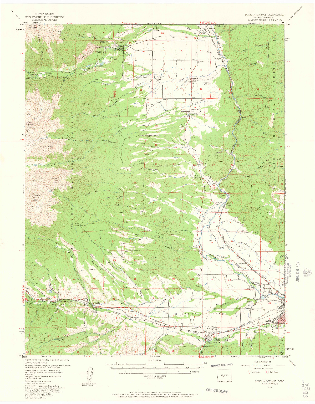 USGS 1:62500-SCALE QUADRANGLE FOR PONCHA SPRINGS, CO 1956