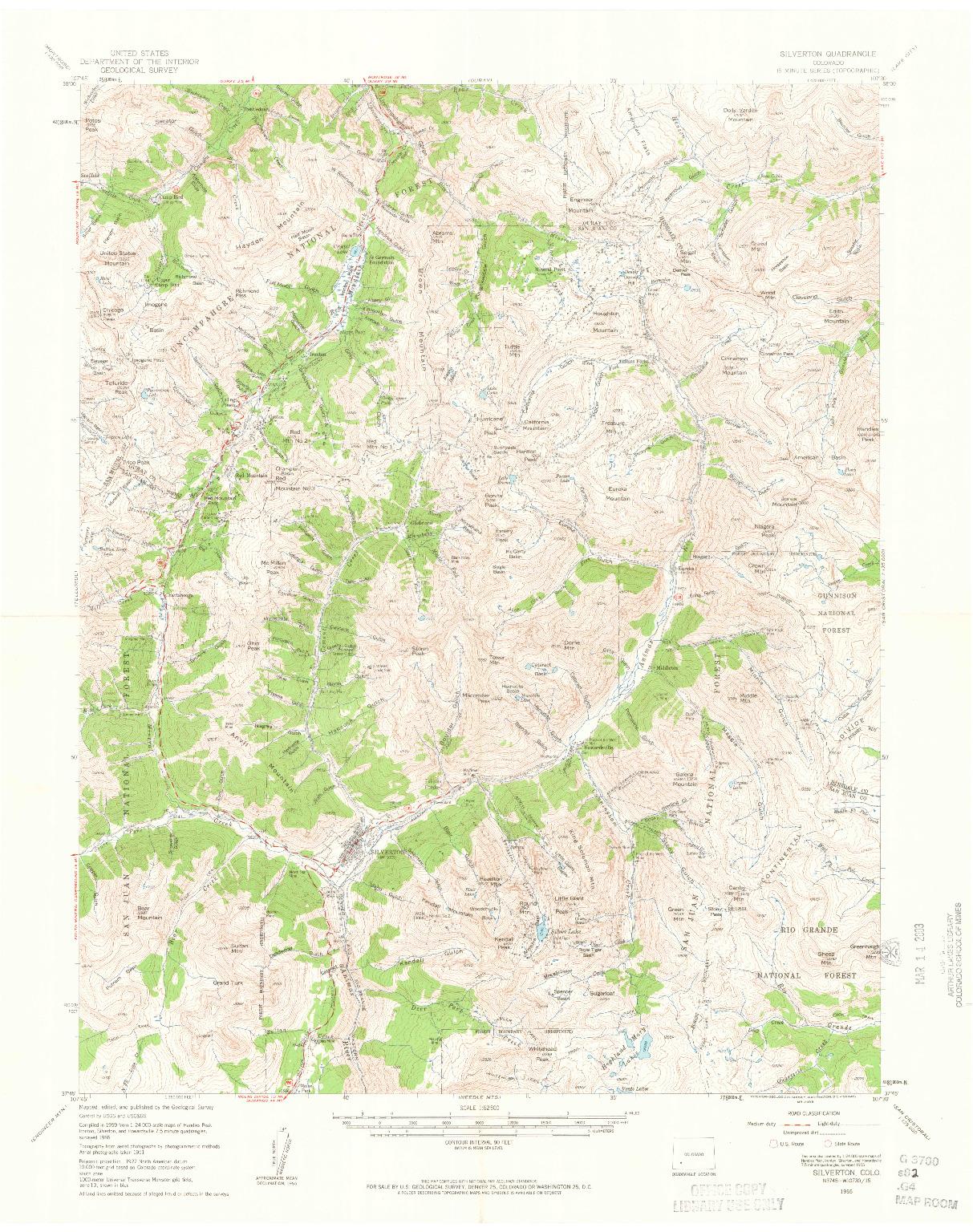 USGS 1:62500-SCALE QUADRANGLE FOR SILVERTON, CO 1955