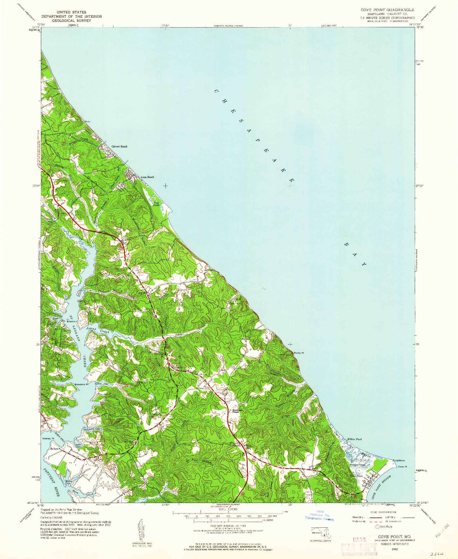 USGS 1:24000-SCALE QUADRANGLE FOR COVE POINT, MD 1943