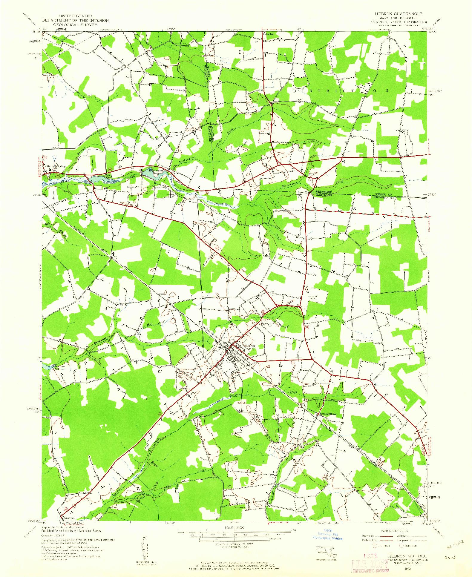 USGS 1:24000-SCALE QUADRANGLE FOR HEBRON, MD 1942