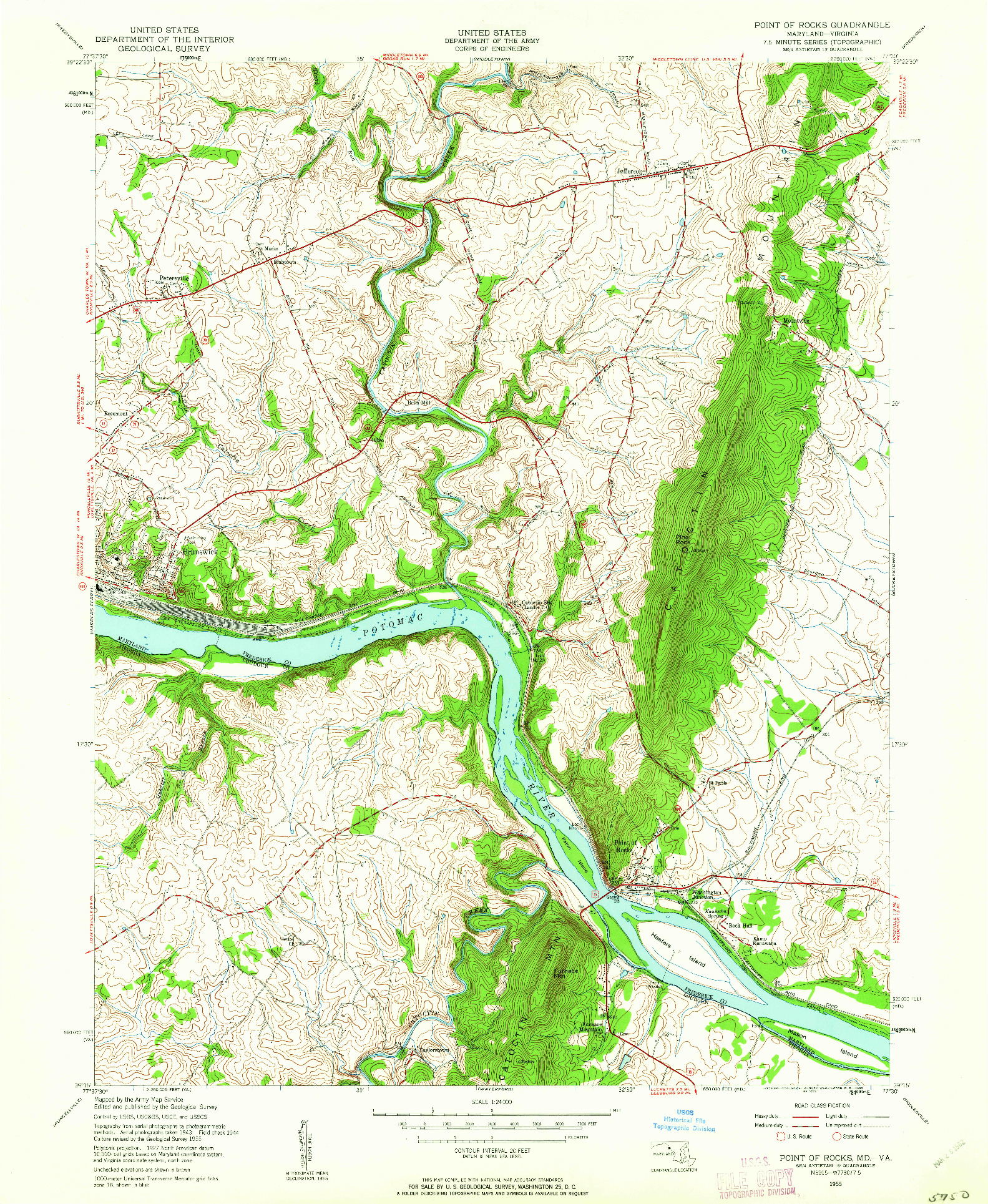 USGS 1:24000-SCALE QUADRANGLE FOR POINT OF ROCKS, MD 1955