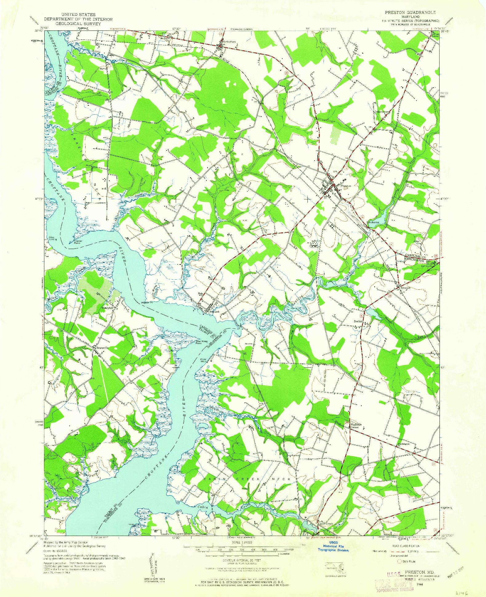 USGS 1:24000-SCALE QUADRANGLE FOR PRESTON, MD 1944