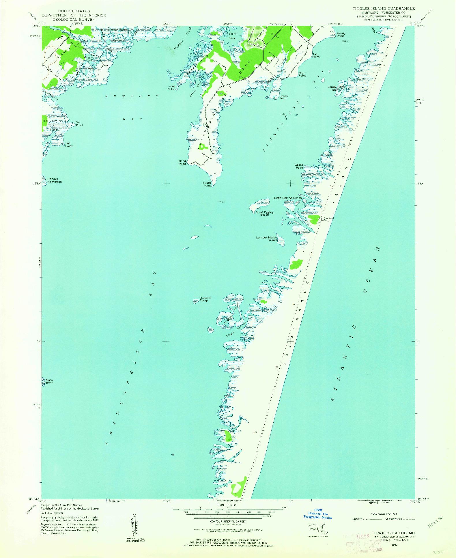 USGS 1:24000-SCALE QUADRANGLE FOR TINGLES ISLAND, MD 1942