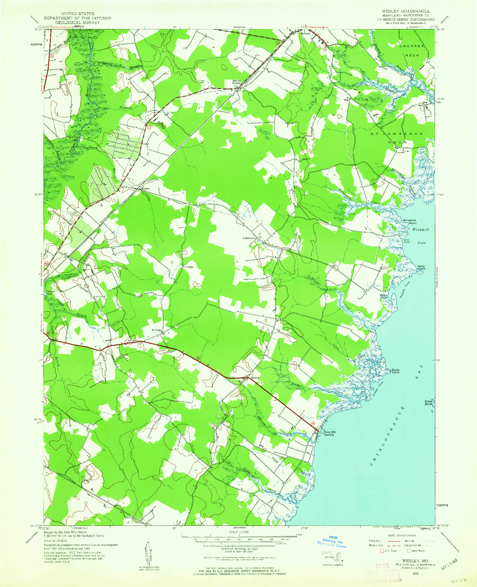 USGS 1:24000-SCALE QUADRANGLE FOR WESLEY, MD 1942