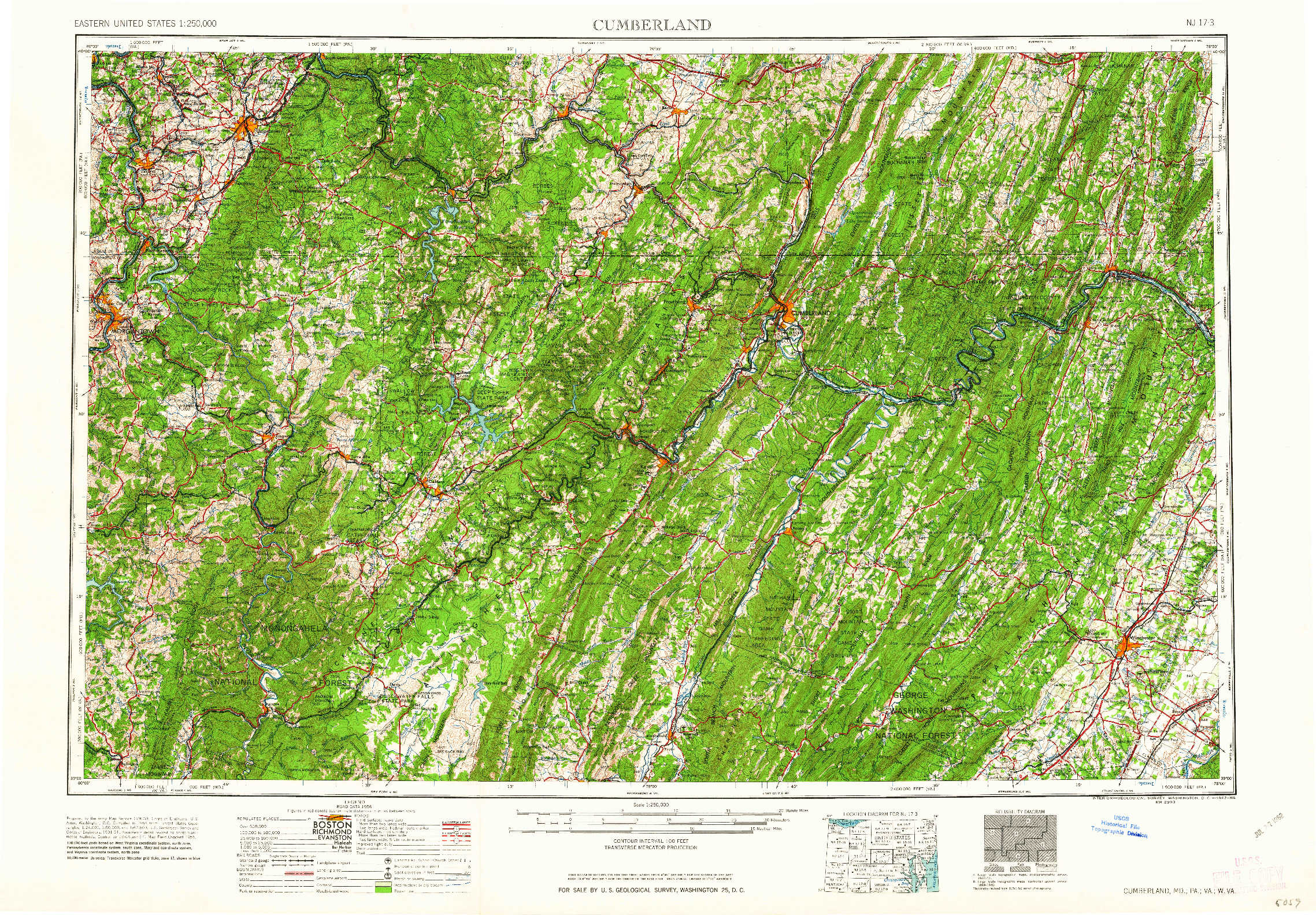 USGS 1:250000-SCALE QUADRANGLE FOR CUMBERLAND, MD 1962