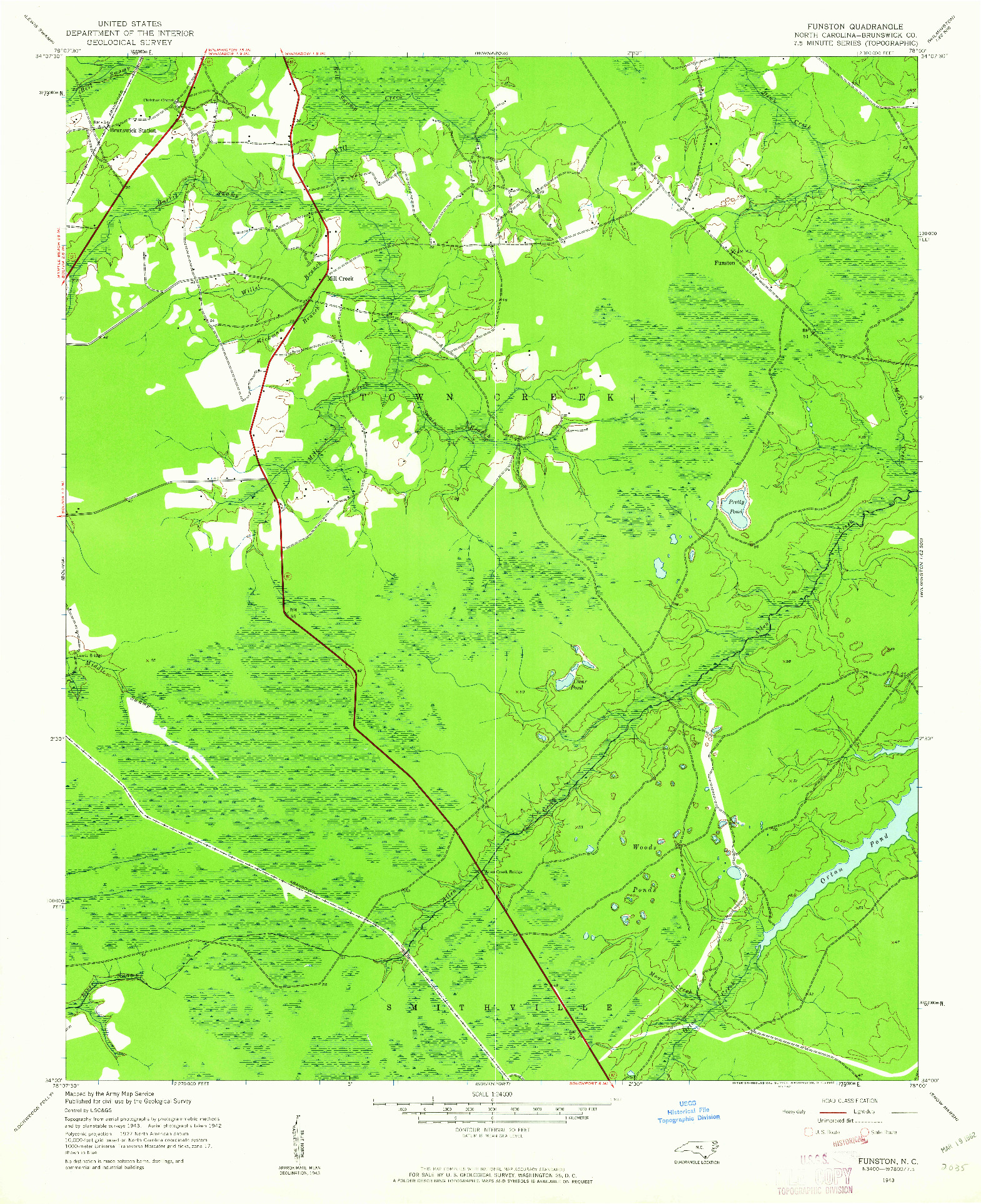 USGS 1:24000-SCALE QUADRANGLE FOR FUNSTON, NC 1943