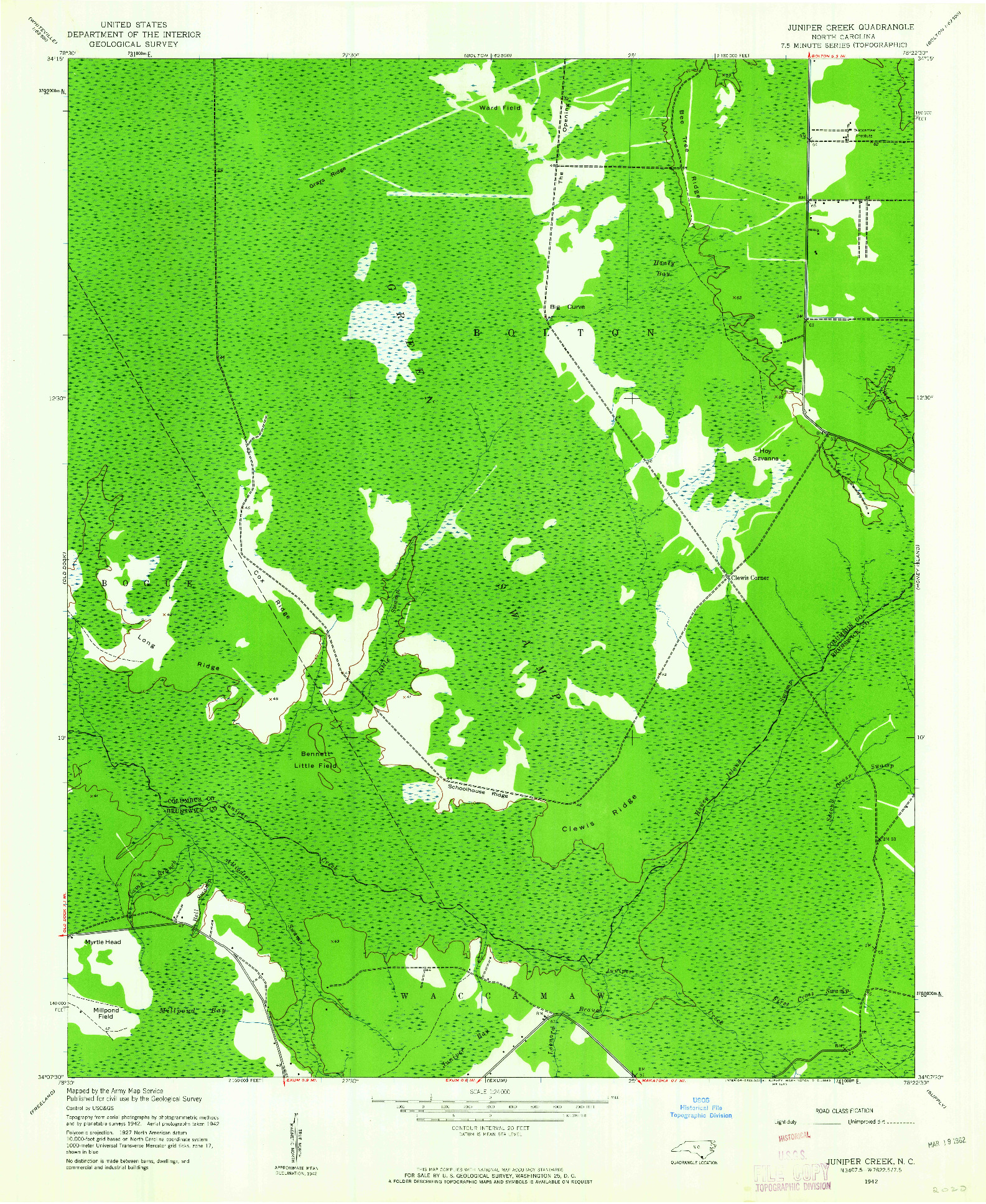 USGS 1:24000-SCALE QUADRANGLE FOR JUNIPER CREEK, NC 1942