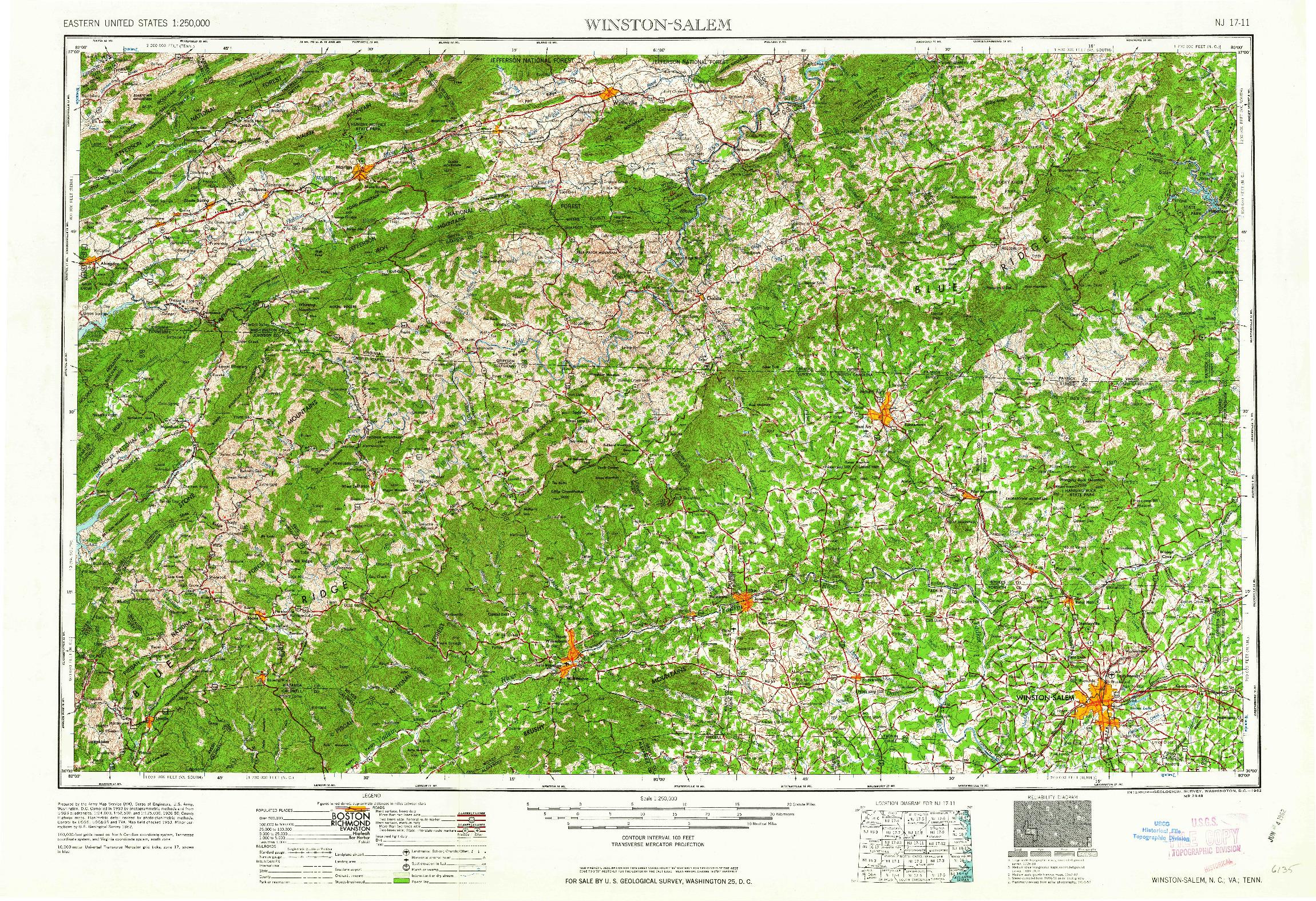 USGS 1:250000-SCALE QUADRANGLE FOR WINSTON-SALEM, NC 1962