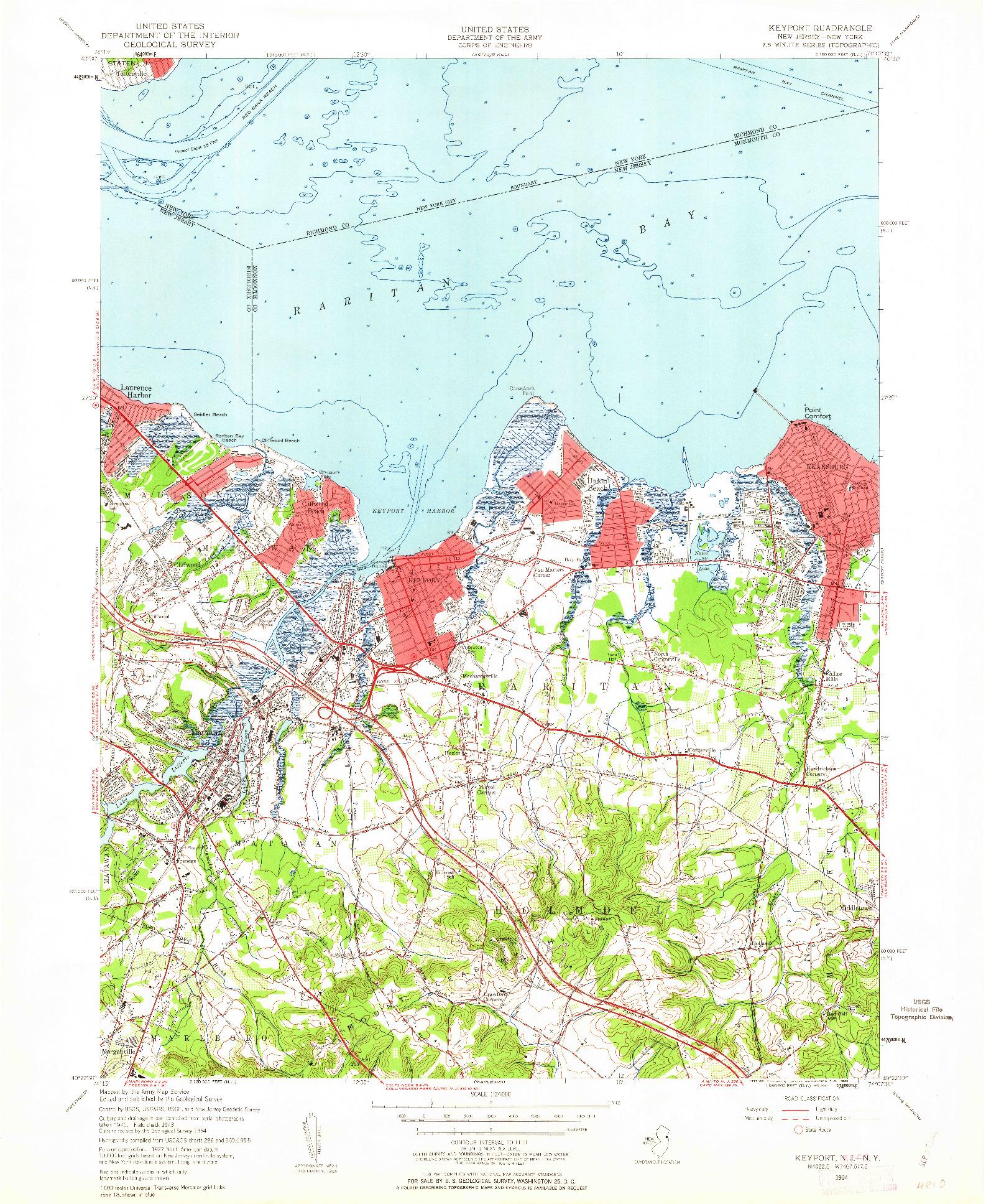 USGS 1:24000-SCALE QUADRANGLE FOR KEYPORT, NJ 1954