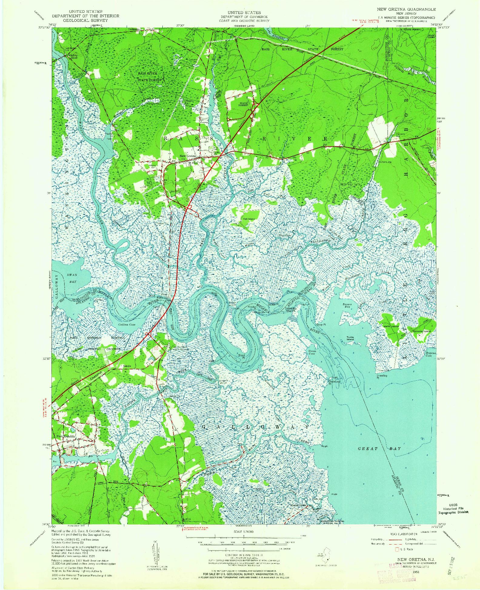 USGS 1:24000-SCALE QUADRANGLE FOR NEW GRETNA, NJ 1951