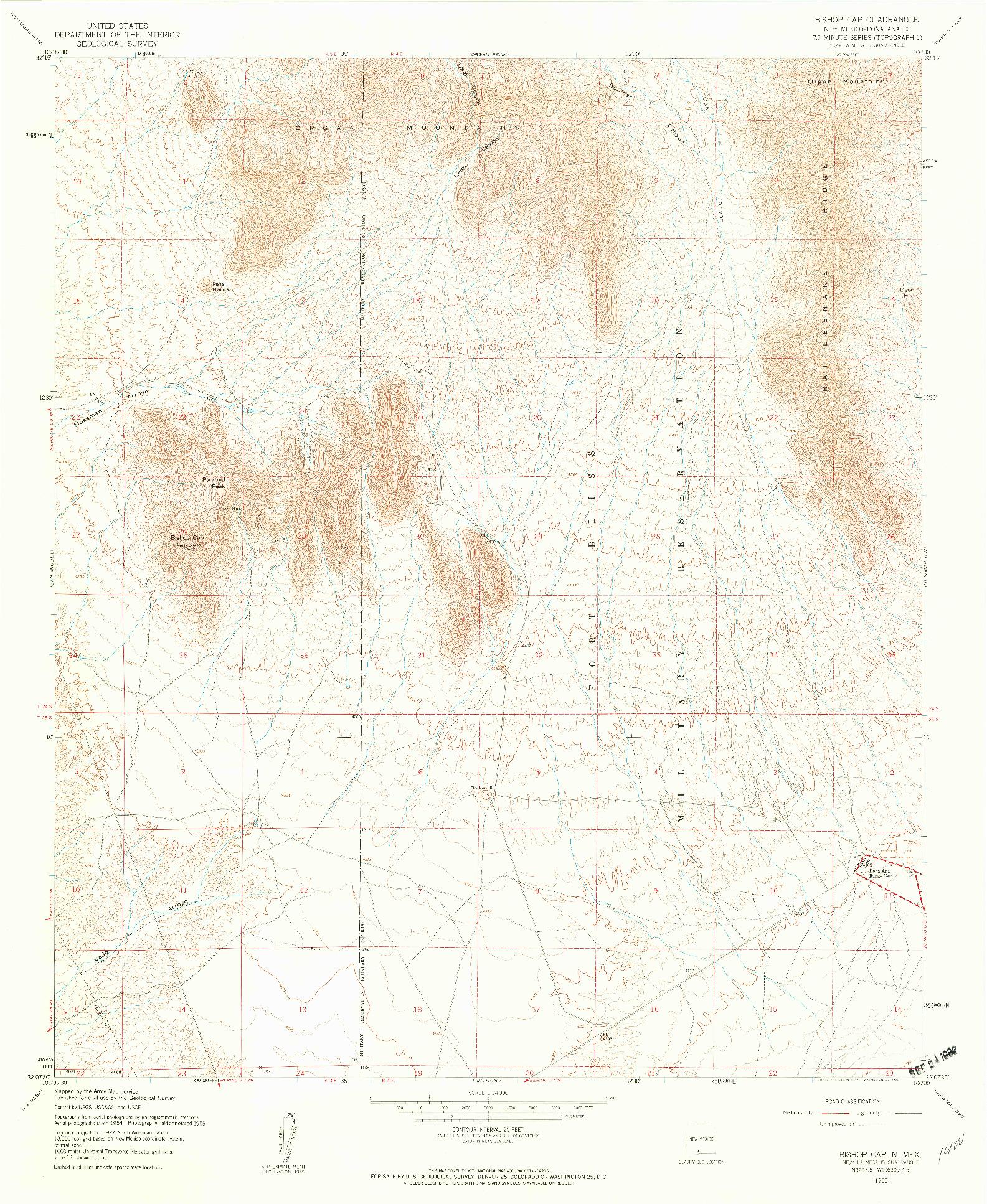 USGS 1:24000-SCALE QUADRANGLE FOR BISHOP CAP, NM 1955